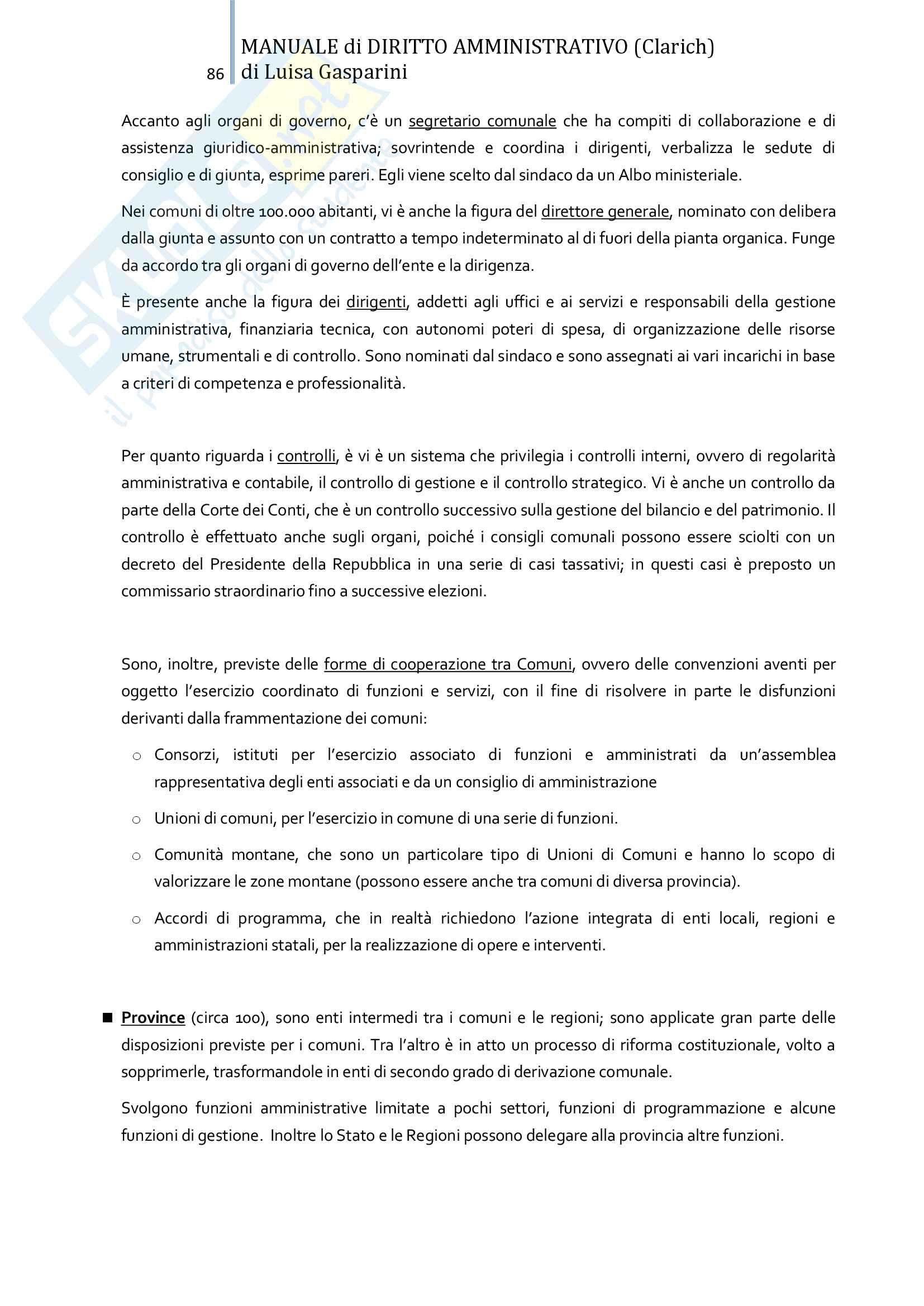 Riassunto esame Diritto amministrativo, professor Leonardi. Testo consigliato Manuale di Diritto Amministrativo, Clarich Pag. 86