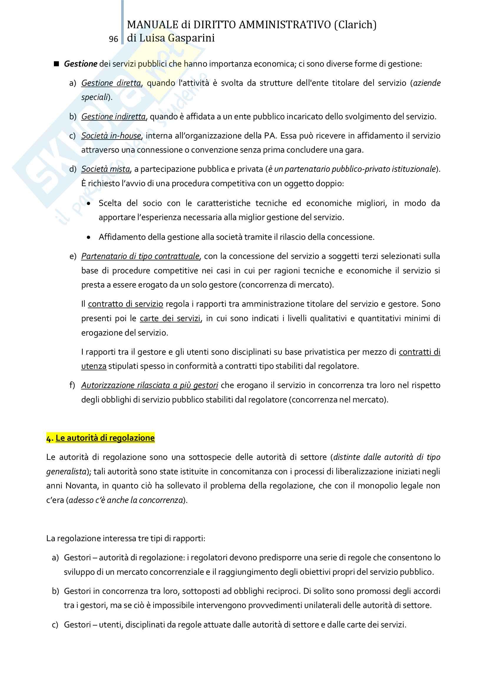 Riassunto esame Diritto amministrativo, professor Leonardi. Testo consigliato Manuale di Diritto Amministrativo, Clarich Pag. 96