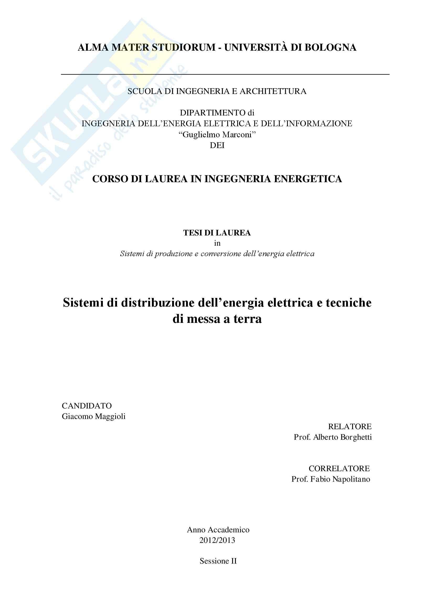 Tesi - Sistemi di distribuzione dell'energia elettrica e tecniche di messa a terra