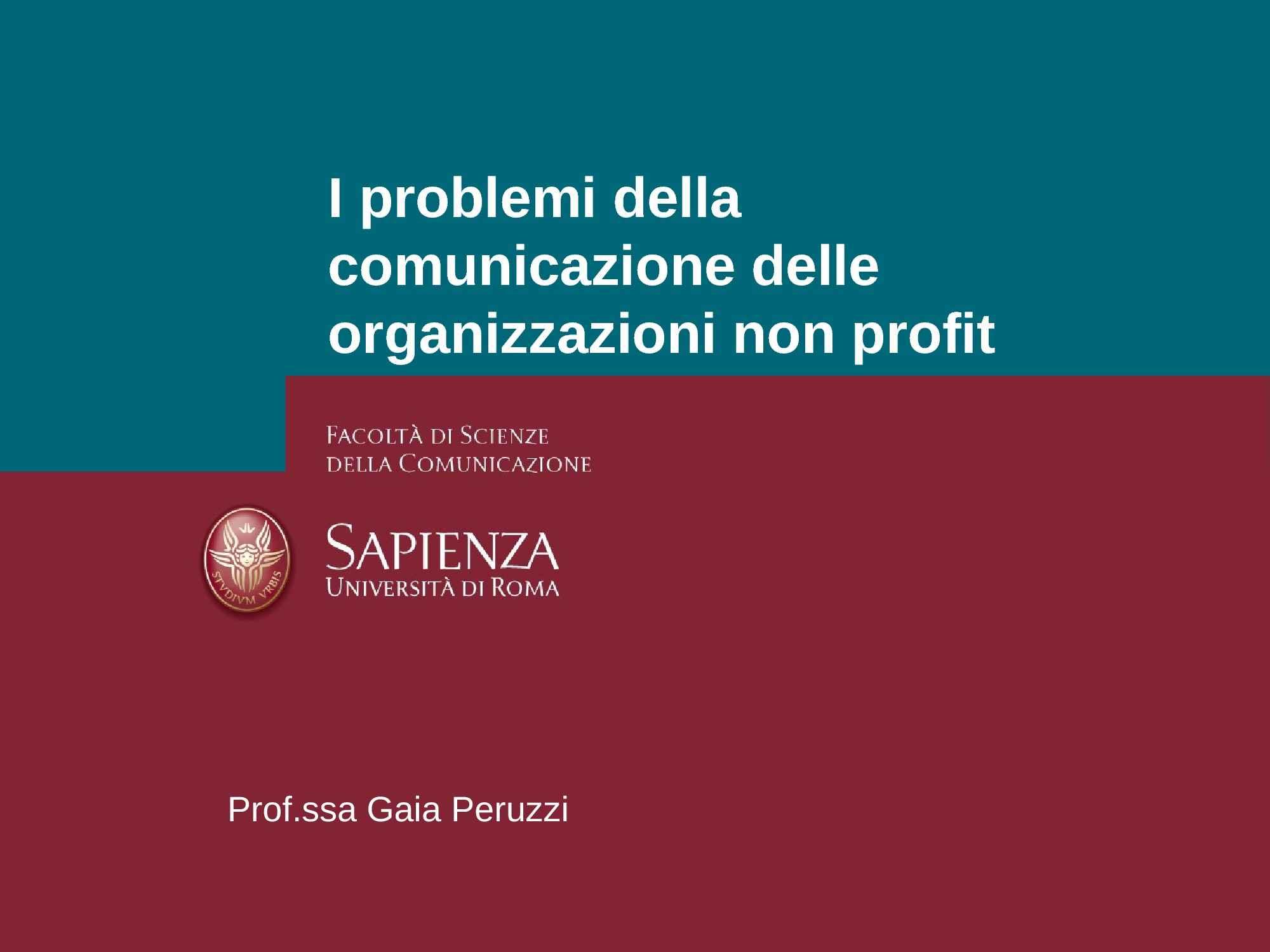 Organizzazioni no profit - Problemi e comunicazione