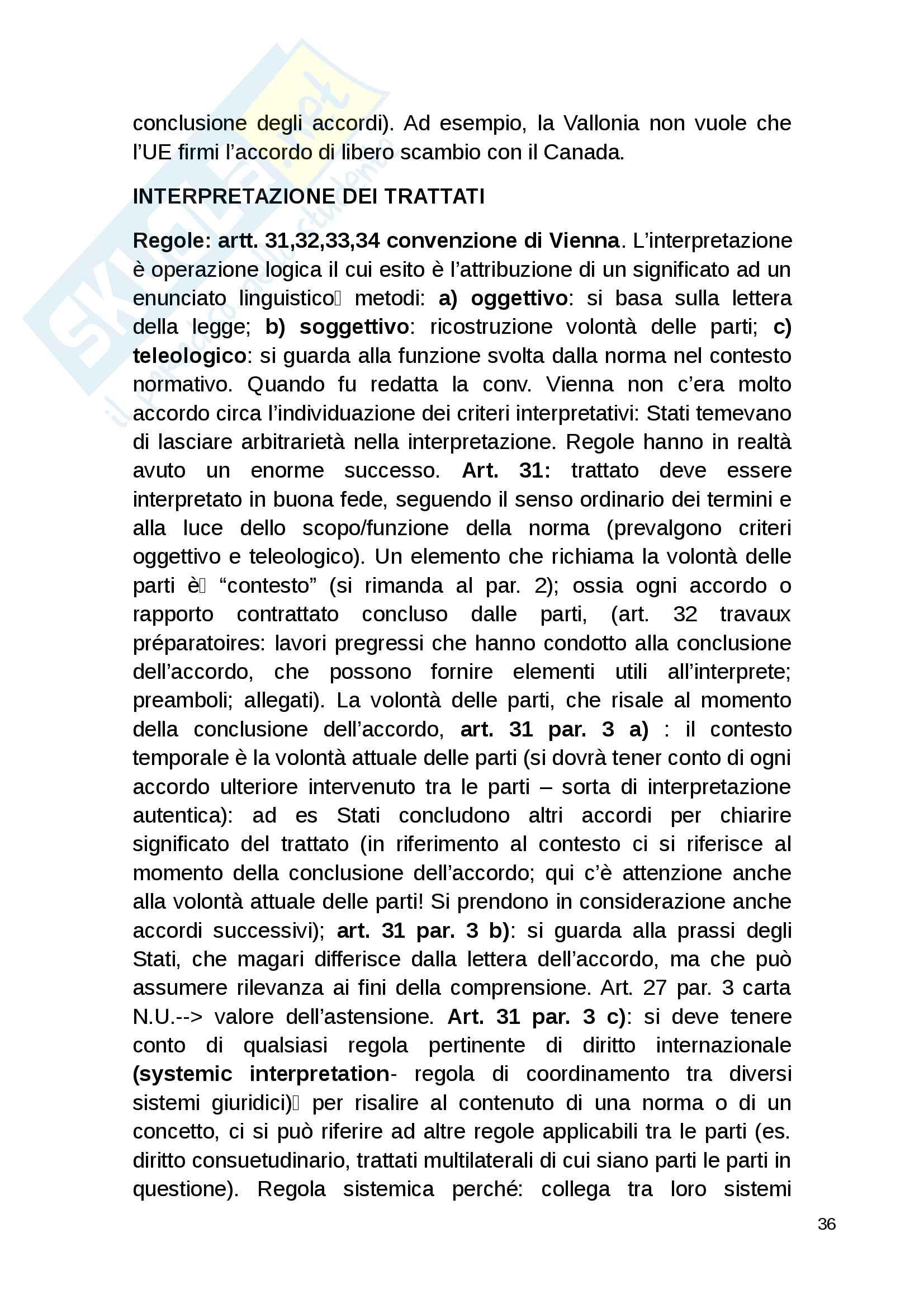 Riassunto esame diritto internazionale, Bufalini, libro consigliato Diritto internazionale di Cannizzaro Pag. 36