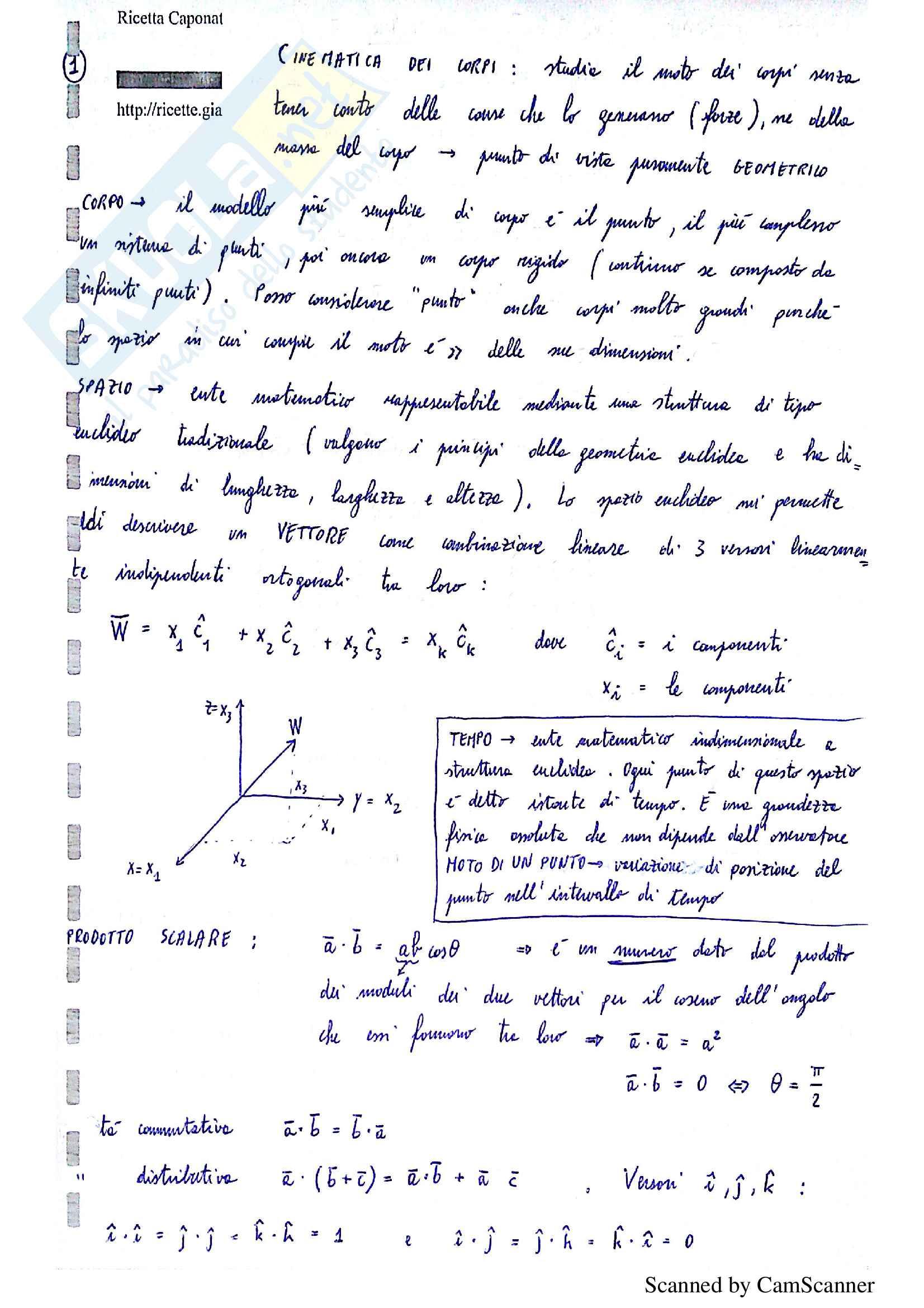 Appunti di lezione di meccanica razionale, prof. Muracchini