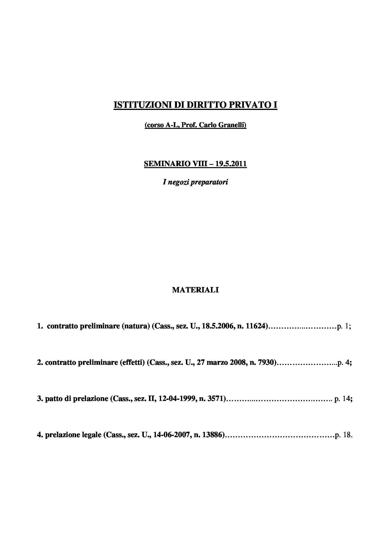 Istituzioni di diritto privato I - i negozi preparatori