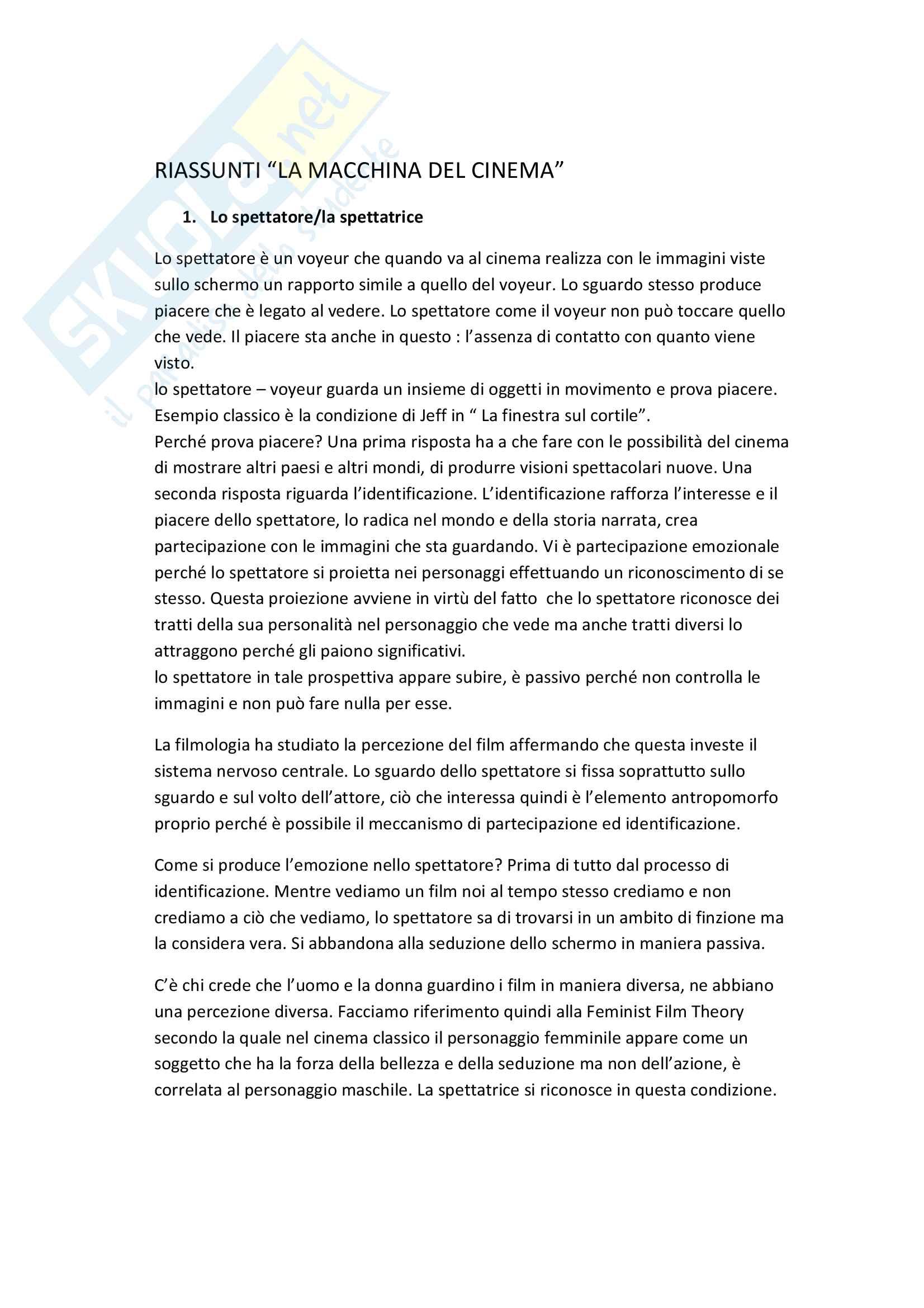 Riassunto esame Tecniche e linguaggi del cinema e dell'audiovisivo, prof. Di Donato, libro consigliato La macchina del cinema, Bertetto