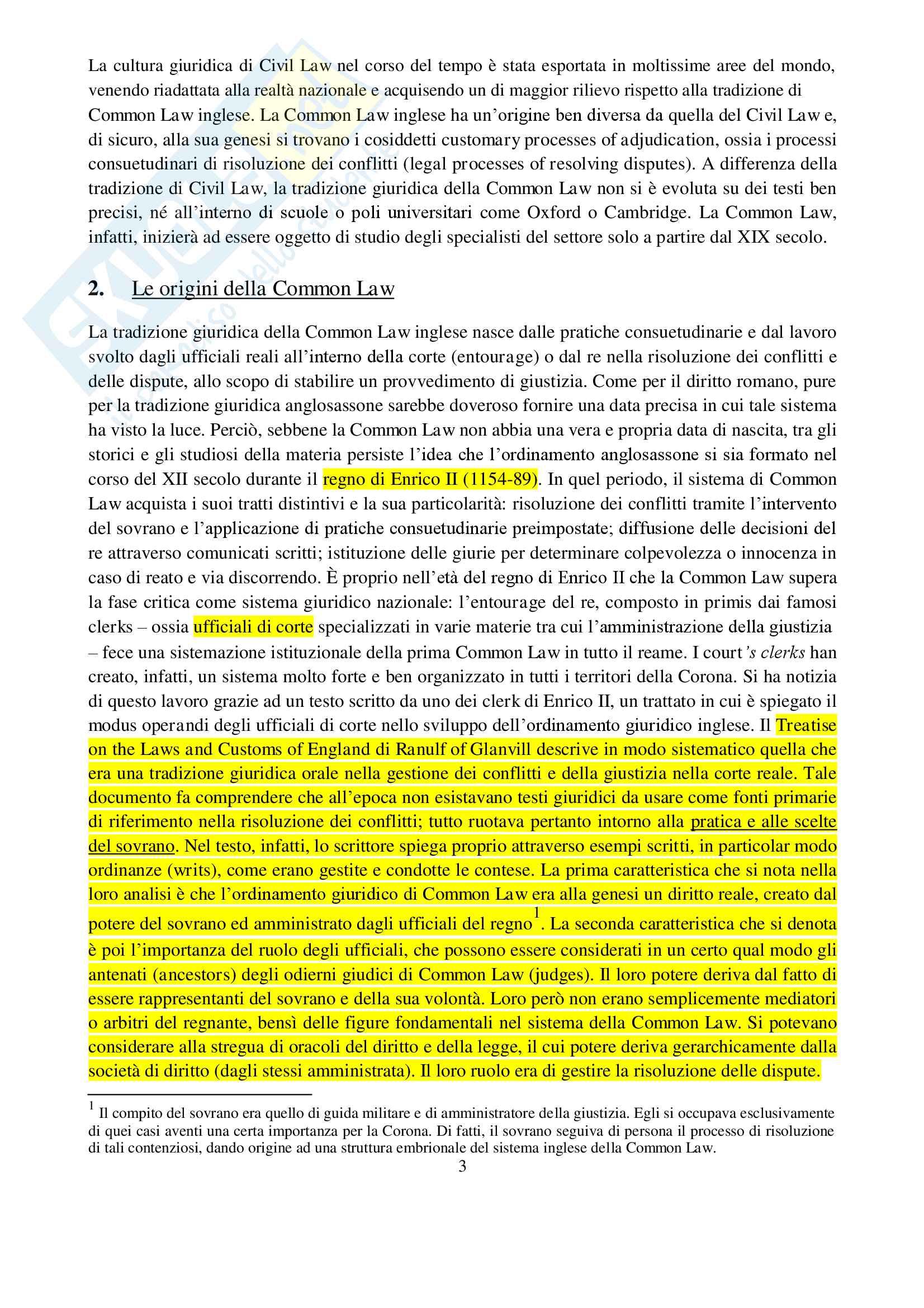 Appunti di Diritto Commerciale Comparato (Partnership, Company, Law Merchant e Lex Mercatoria, Storia del Commerci, Common Law e Civil Law) Pag. 2