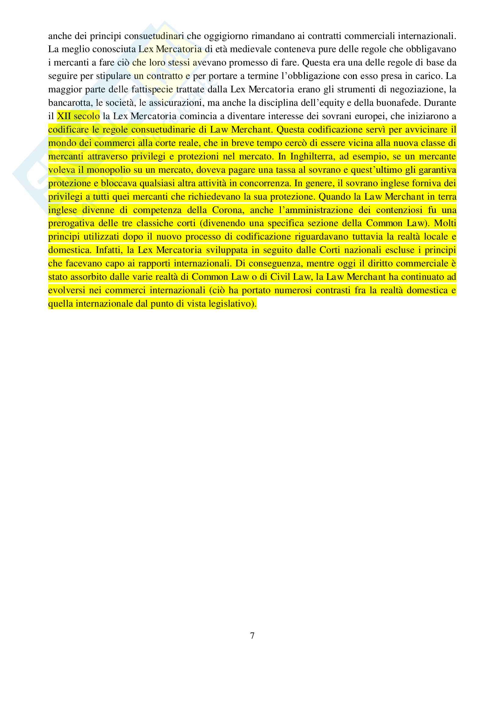 Appunti di Diritto Commerciale Comparato (Partnership, Company, Law Merchant e Lex Mercatoria, Storia del Commerci, Common Law e Civil Law) Pag. 6