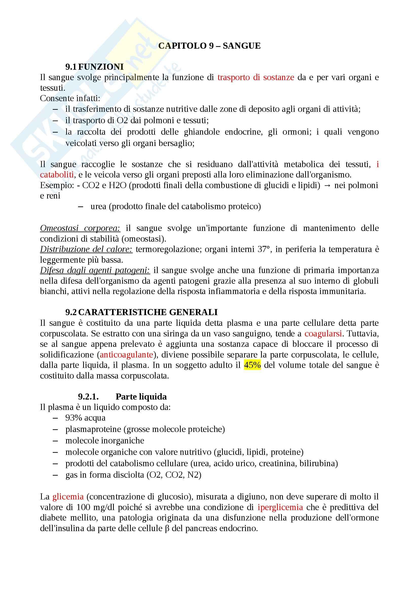 Riassunto esame Fisiologia Generale, prof. Veicsteinas, libro consigliato Fisiologia dell'Uomo - cap. 9