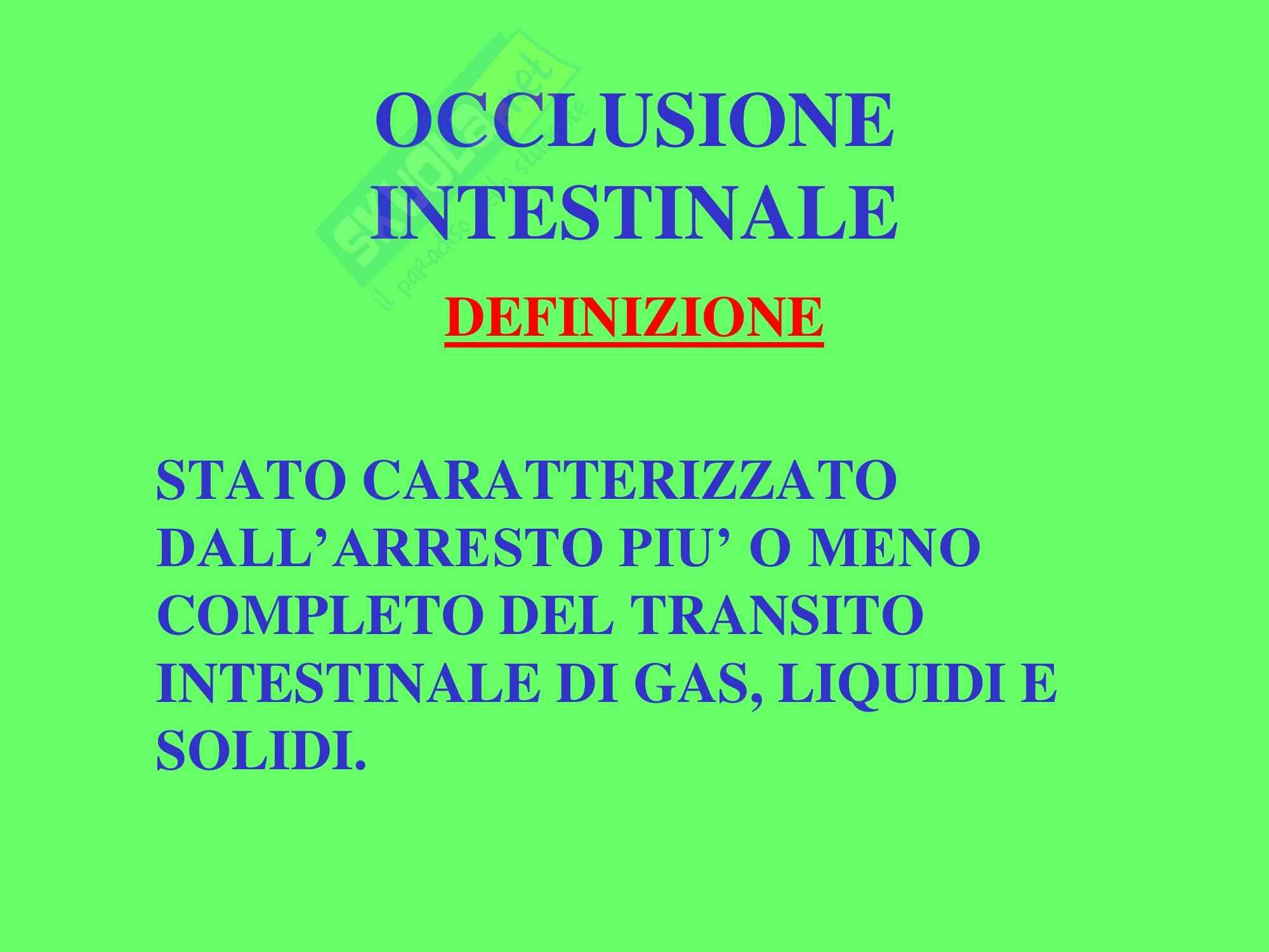 Chirurgia dell'apparato digerente - Occlusione Intestinale