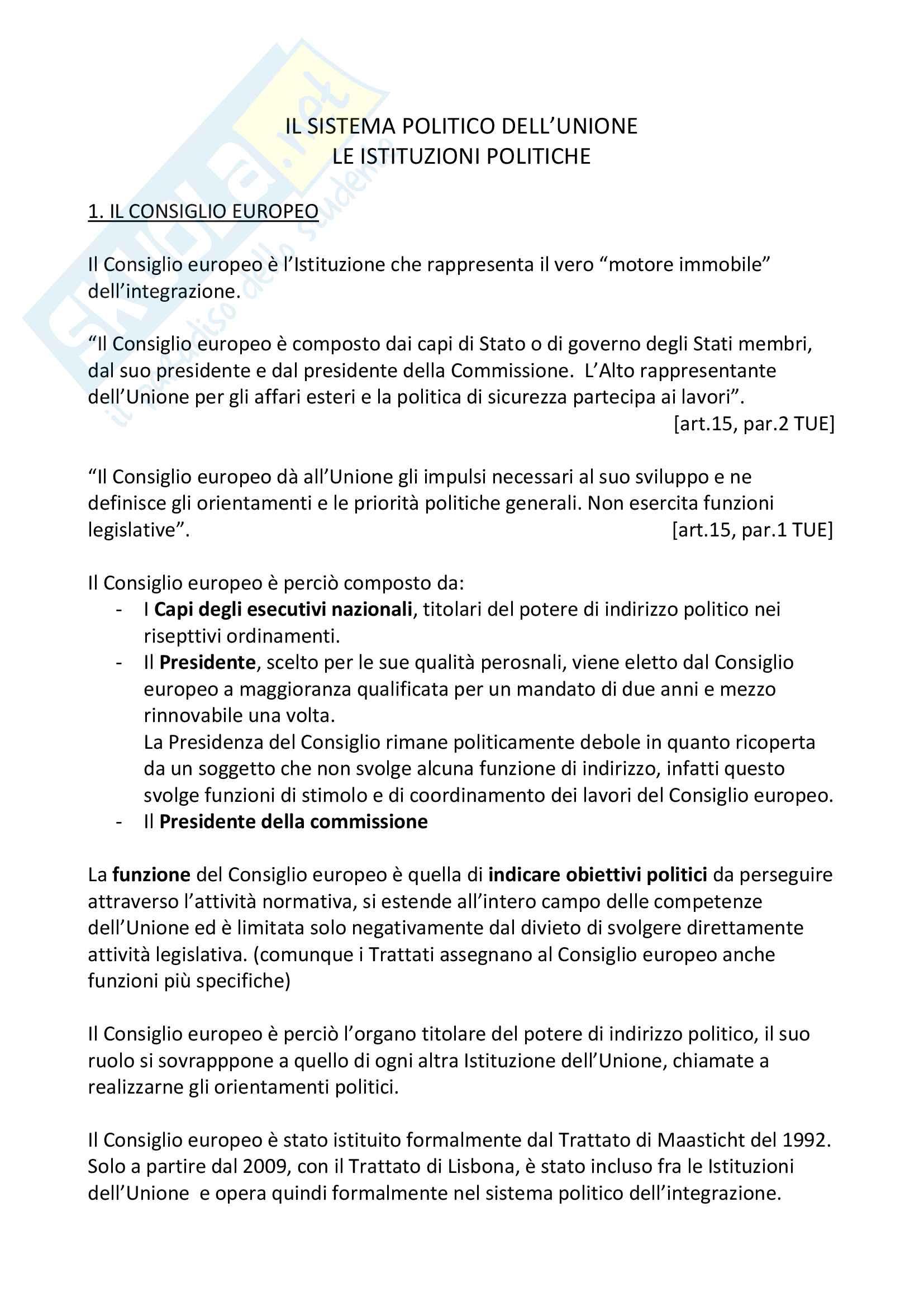 Le Istituzioni politiche dell'Unione Europea