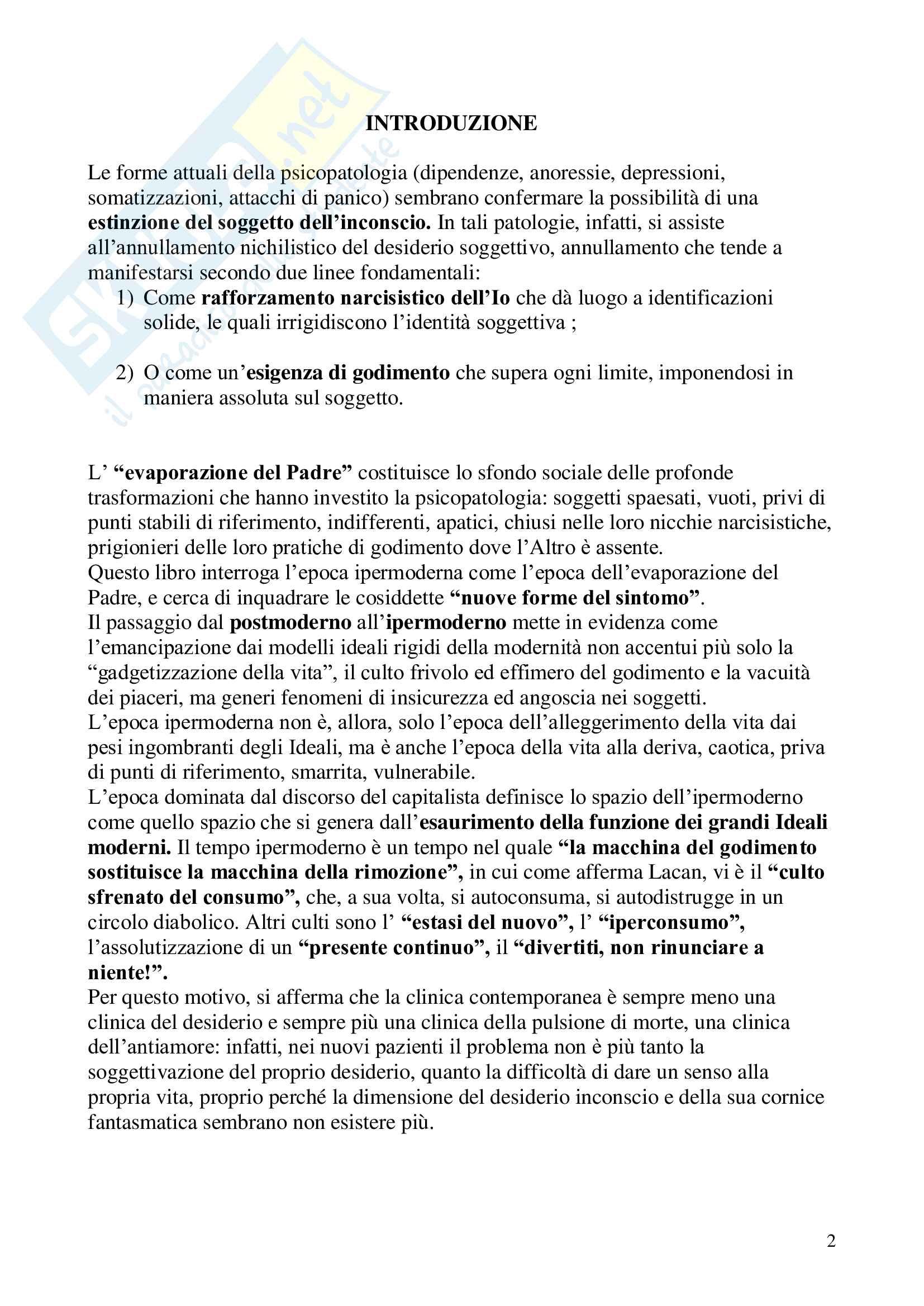 Riassunto esame Psicologia clinica, prof. Lo Castro, libro consigliato L'uomo senza inconscio, Recalcati