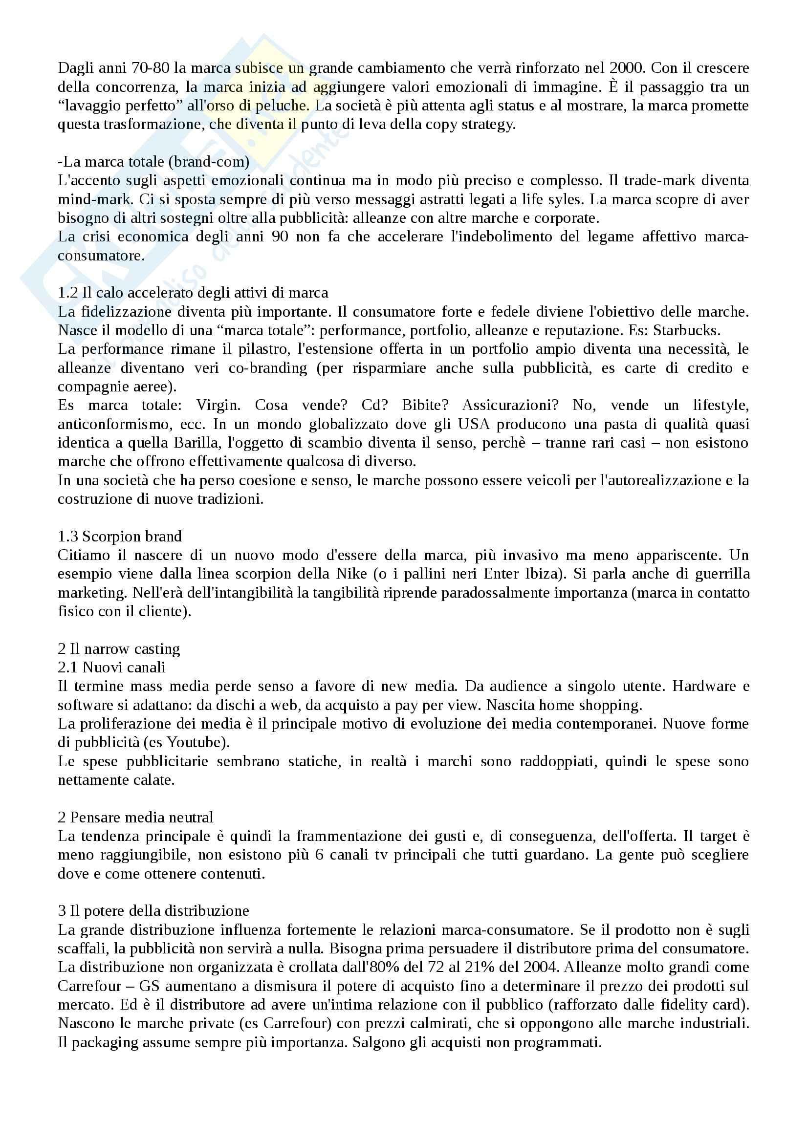 Riassunto esame Marketing, prof. Cavallone, libro consigliato La strategia in pubblicità, Lombardi Pag. 2