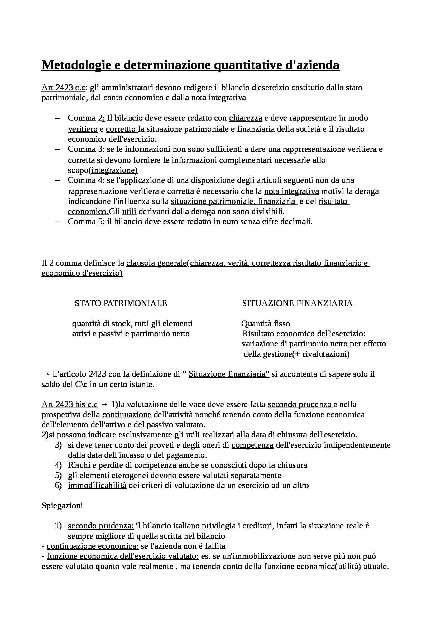Metodologie e determinazioni quantitative d'azienda Golia Cattolica - Appunti