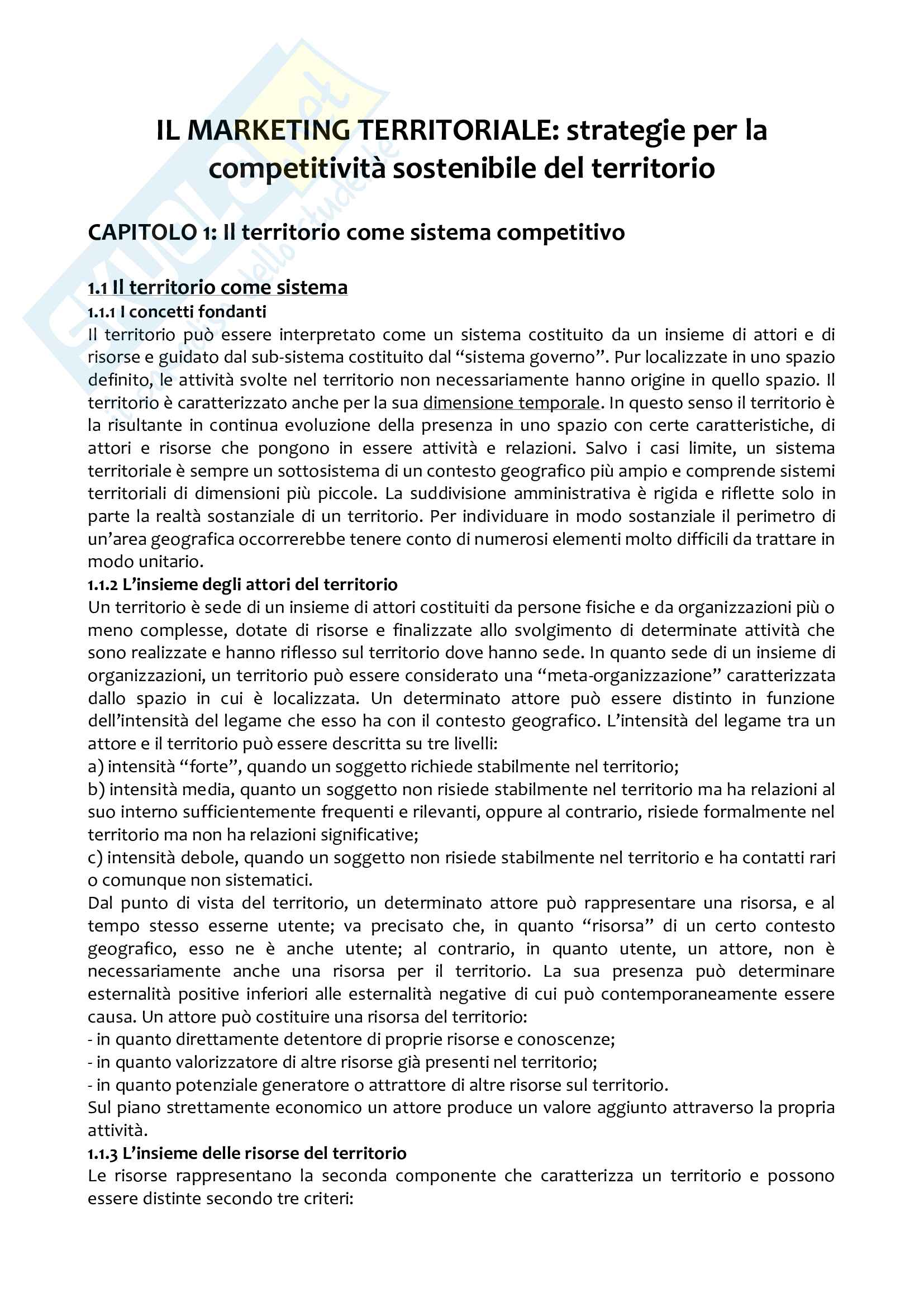 Riassunto esame marketing territoriale, docente Guido, libro consigliato Il marketing territoriale, Caroli