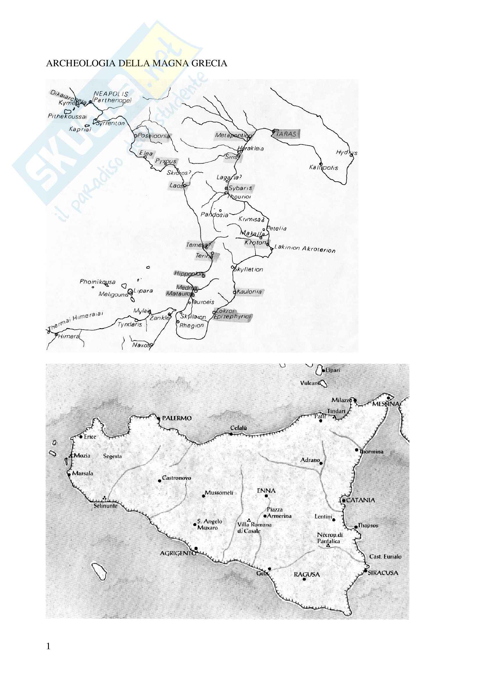 Appunti corso Magna Grecia e Sicilia con immagini