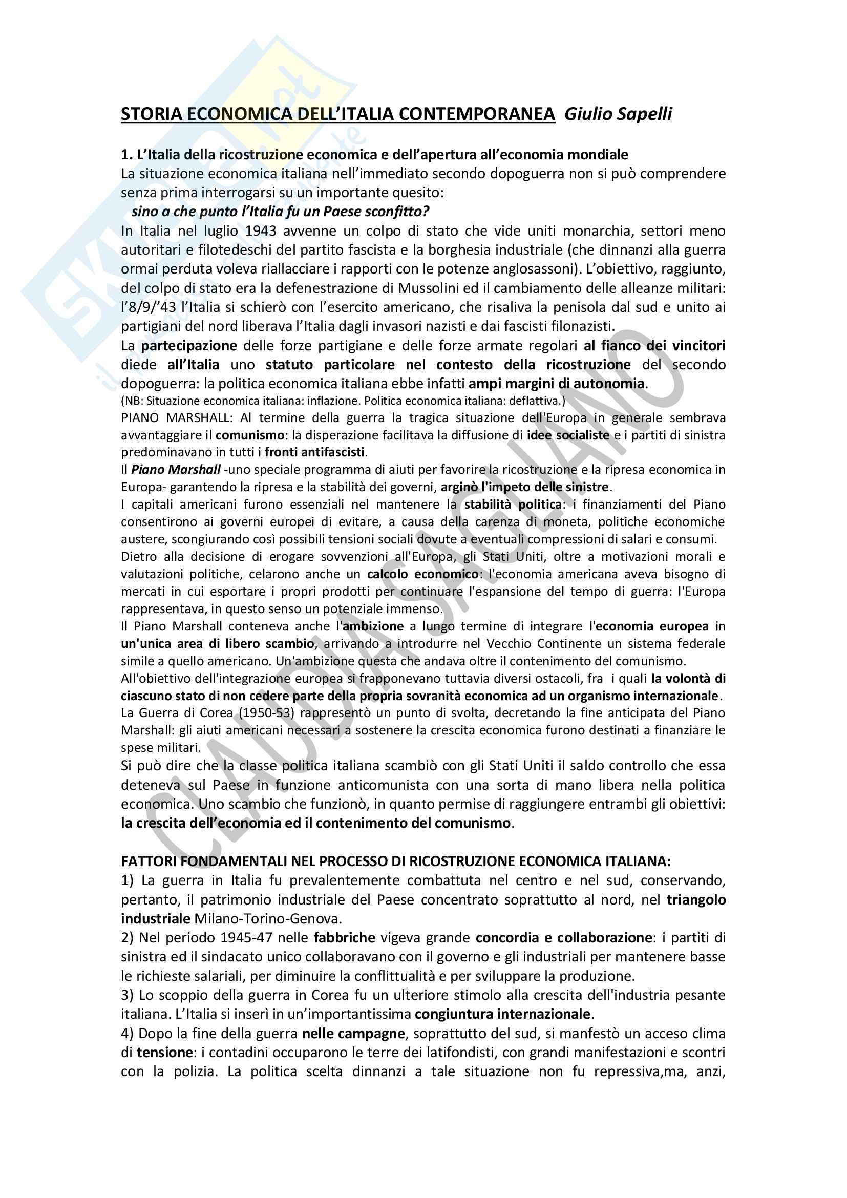 Riassunto esame storia economica, prof. Giulio Sapelli, libro consigliato: Storia Economica dell'Italia Contemporanea, Giulio Sapelli, capitoli 1-5