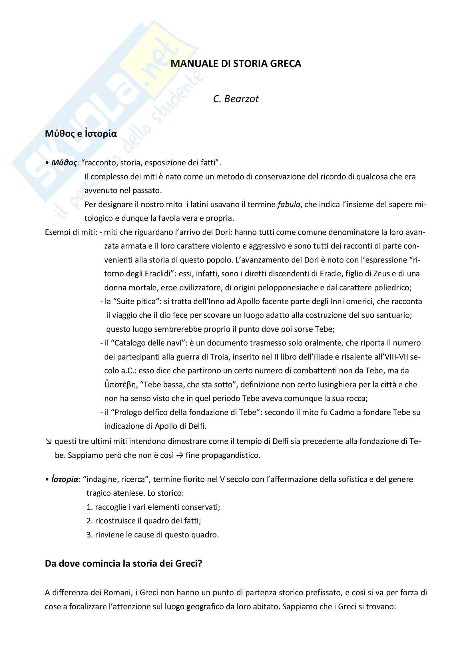 """Riassunto esame storia greca, Prof.ssa Prandi, libro consigliato """"Manuale di storia greca"""" (C. Bearzot)"""