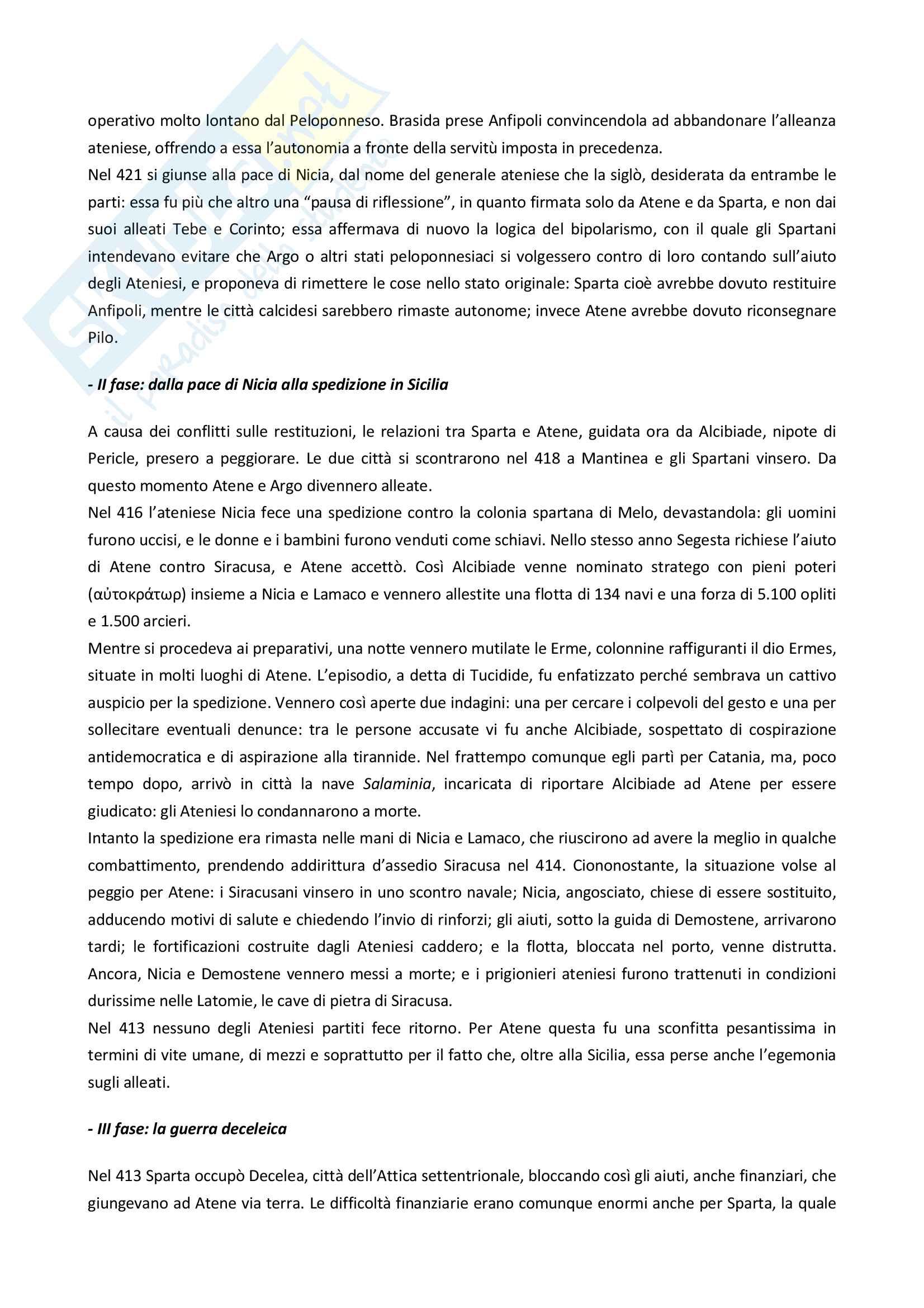 """Riassunto esame storia greca, Prof.ssa Prandi, libro consigliato """"Manuale di storia greca"""" (C. Bearzot) Pag. 26"""