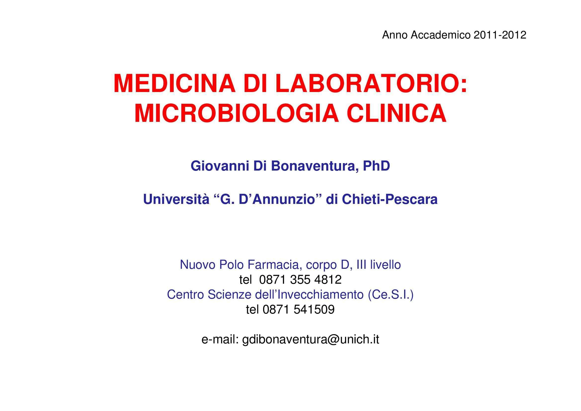 Diagnosi batteriologica - Colorazioni e colture