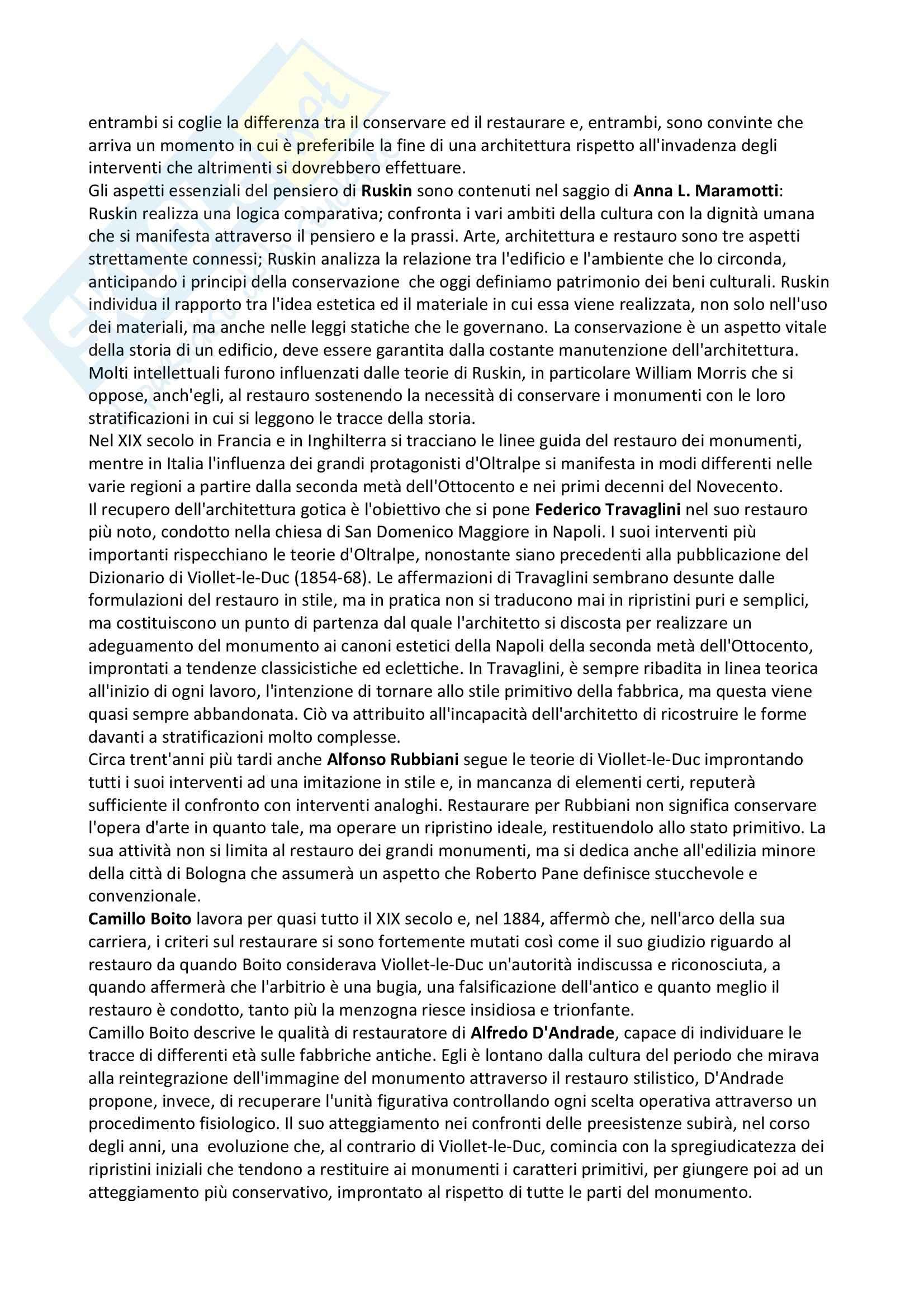 Riassunto esame Fondamenti di conservazione, prof Maramotti, libro consigliato La cultura del restauro, Casiello Pag. 2