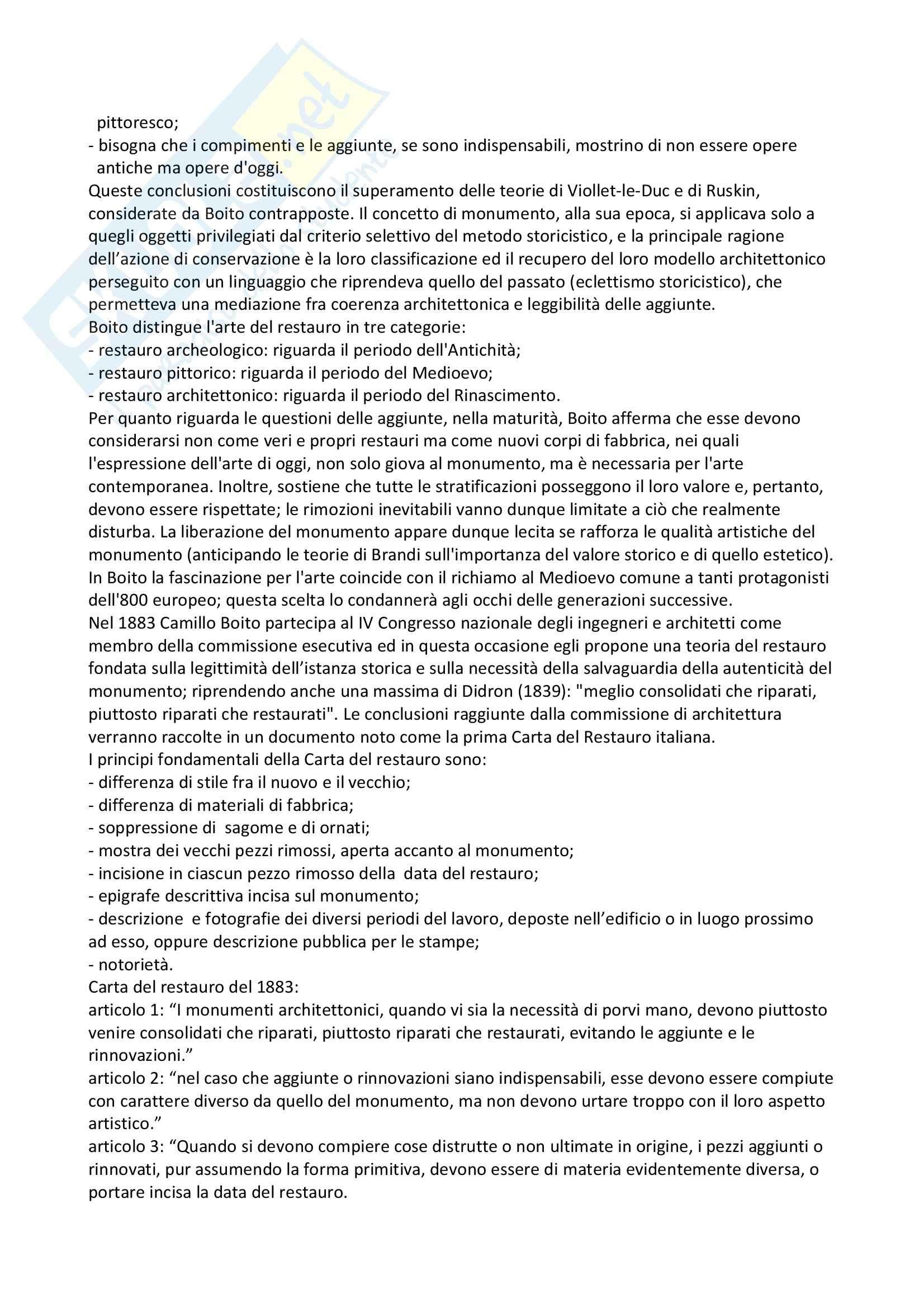 Riassunto esame Fondamenti di conservazione, prof Maramotti, libro consigliato La cultura del restauro, Casiello Pag. 6