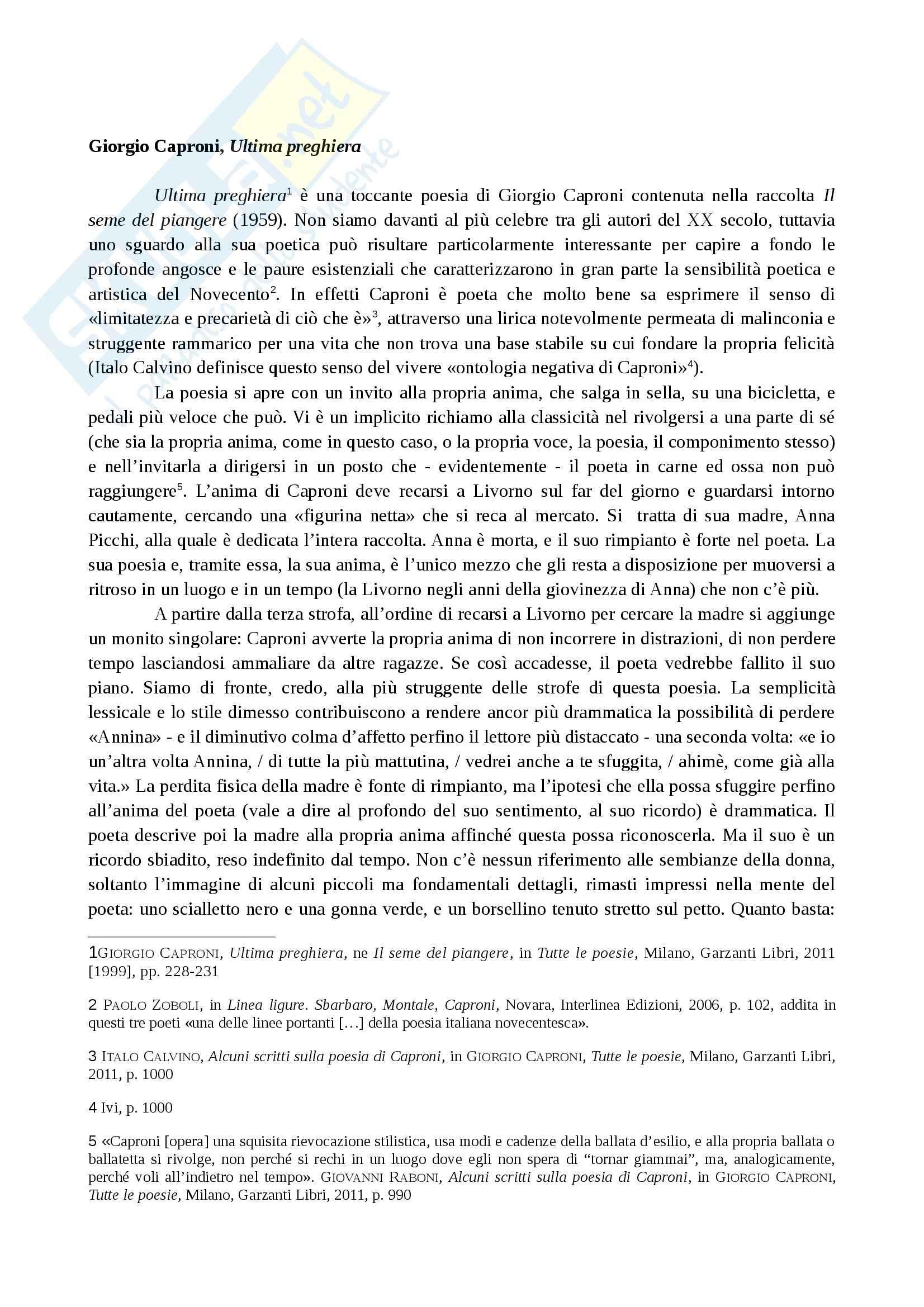 Letteratura italiana contemporanea - Ultima preghiera di Caproni
