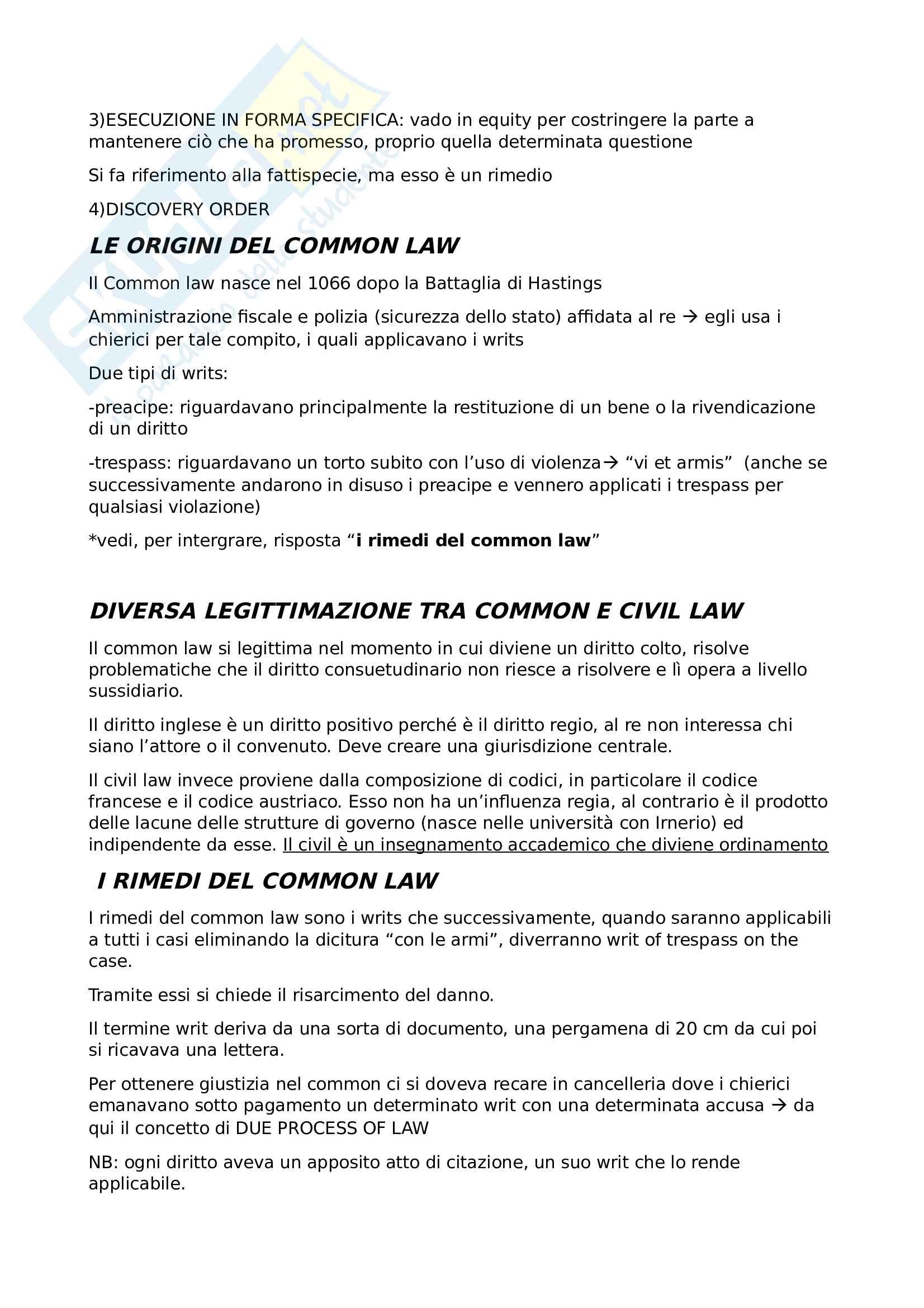 Domande e risposte Sistemi giuridici comparati Pag. 2