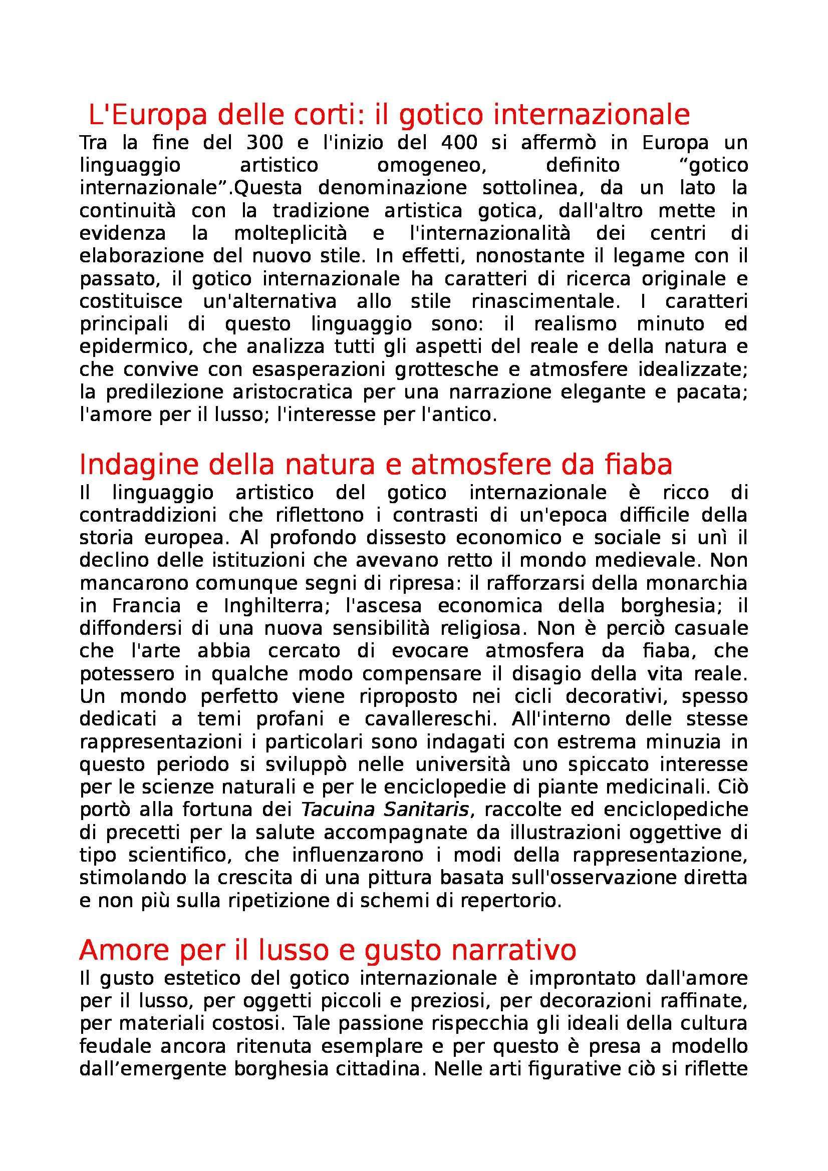 Riassunto esame Storia dell'Arte Moderna, prof. Pinelli, libro consigliato Storia dell'Arte Moderna: Dal Gotico Internazionale al Rinascimento