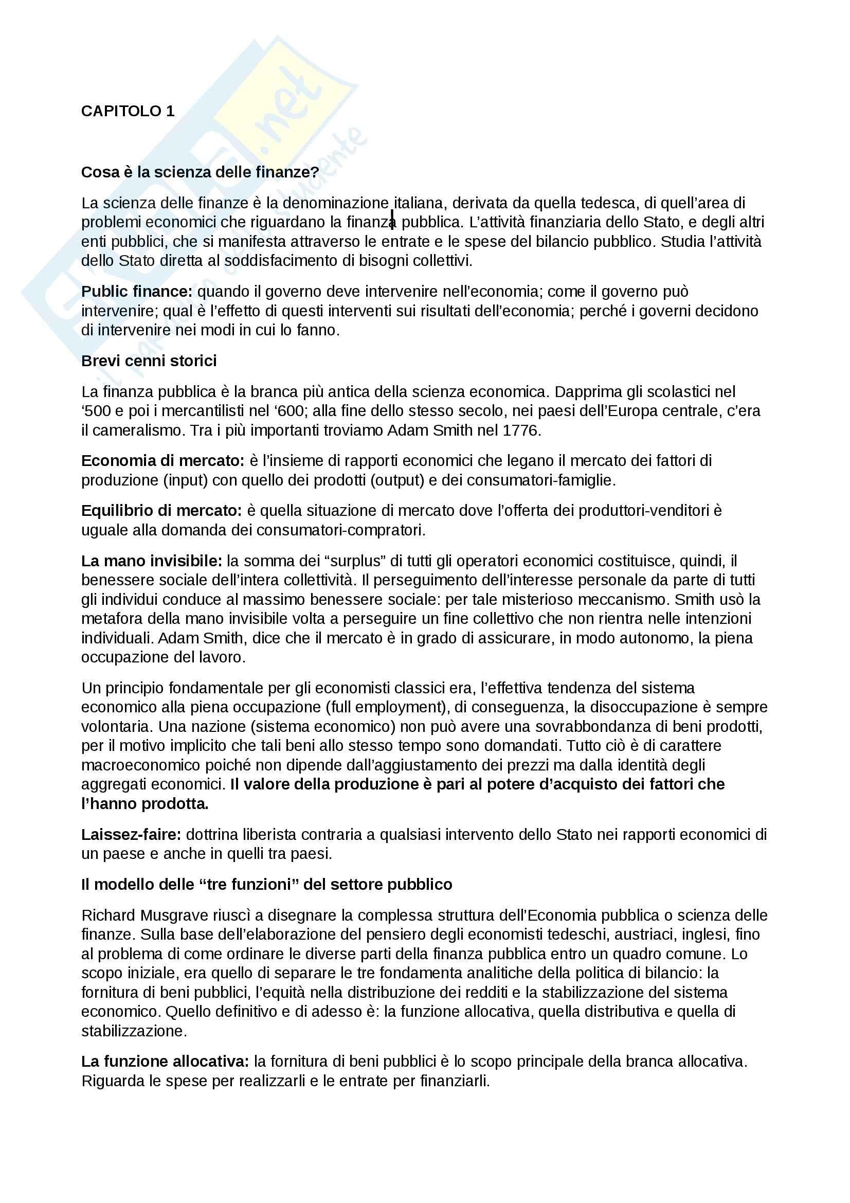 Riassunto esame scienza delle finanze, prof. De Bonis, libro consigliato Lezioni di scienza delle finanze, Campa