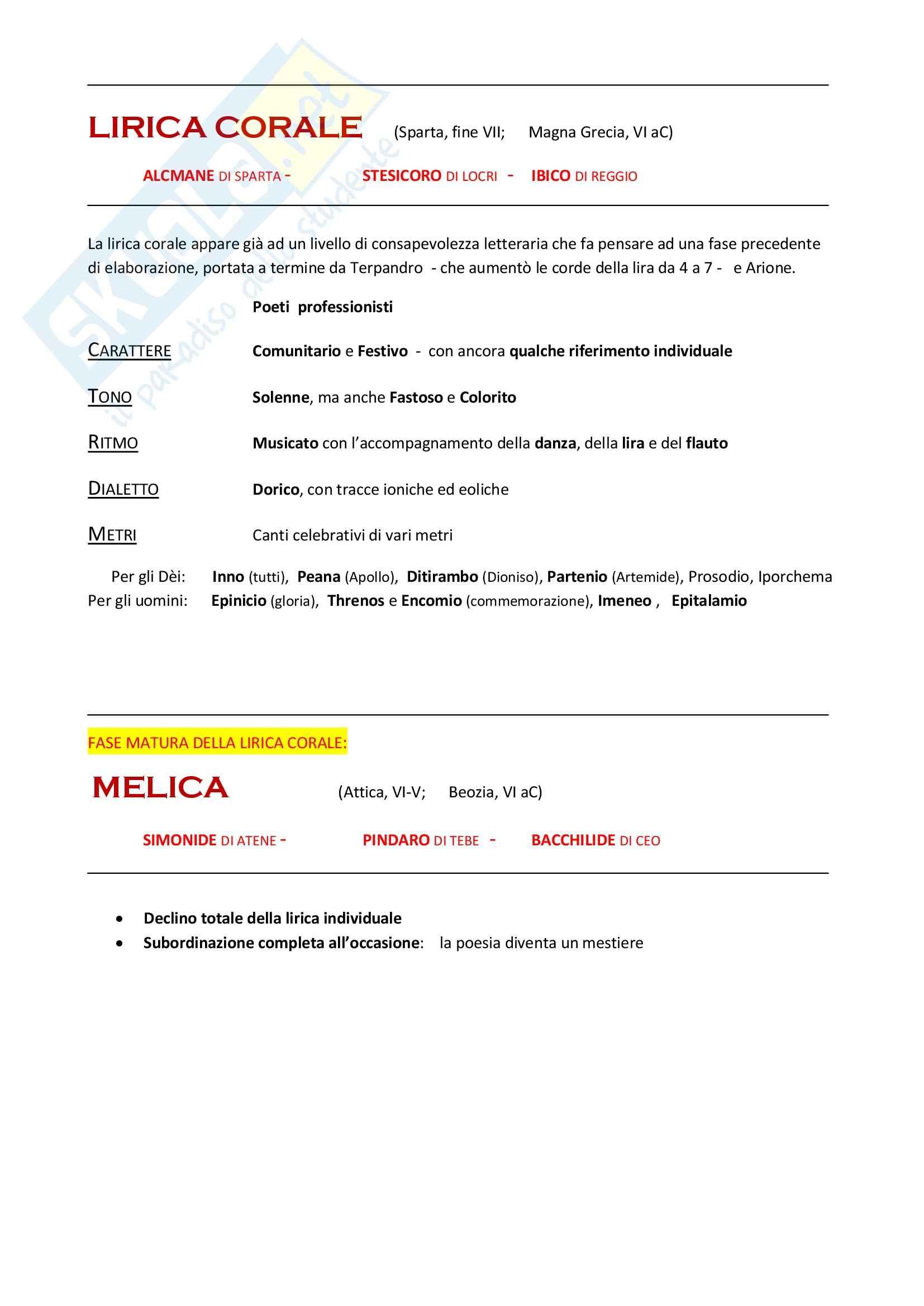 Letteratura Greca - Lirica Corale e Melica
