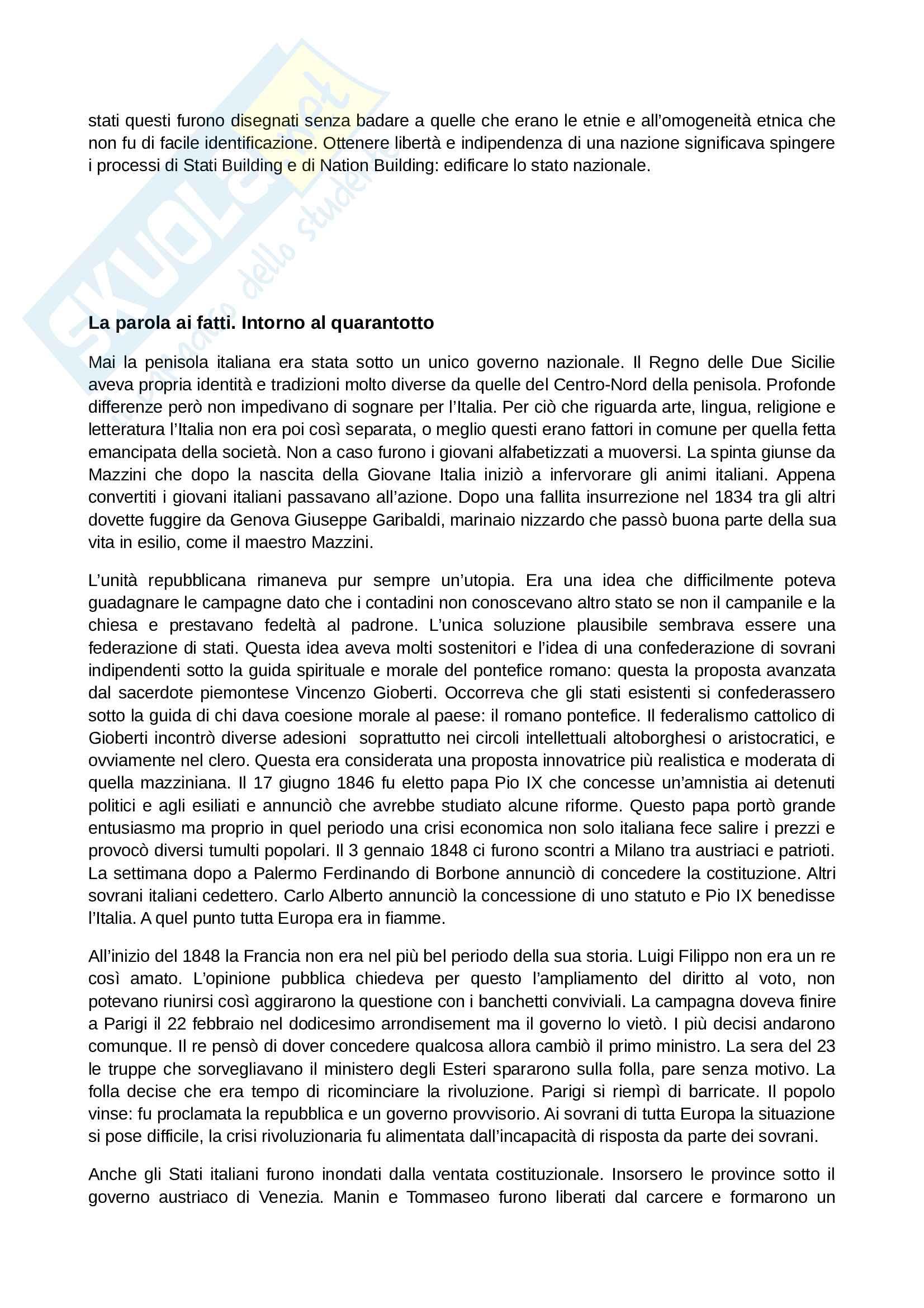 Riassunto esame Storia Contemporanea, prof. Papadia, libro consigliato Ottocento: Lezioni di Storia Contemporanea, Romanelli Pag. 11