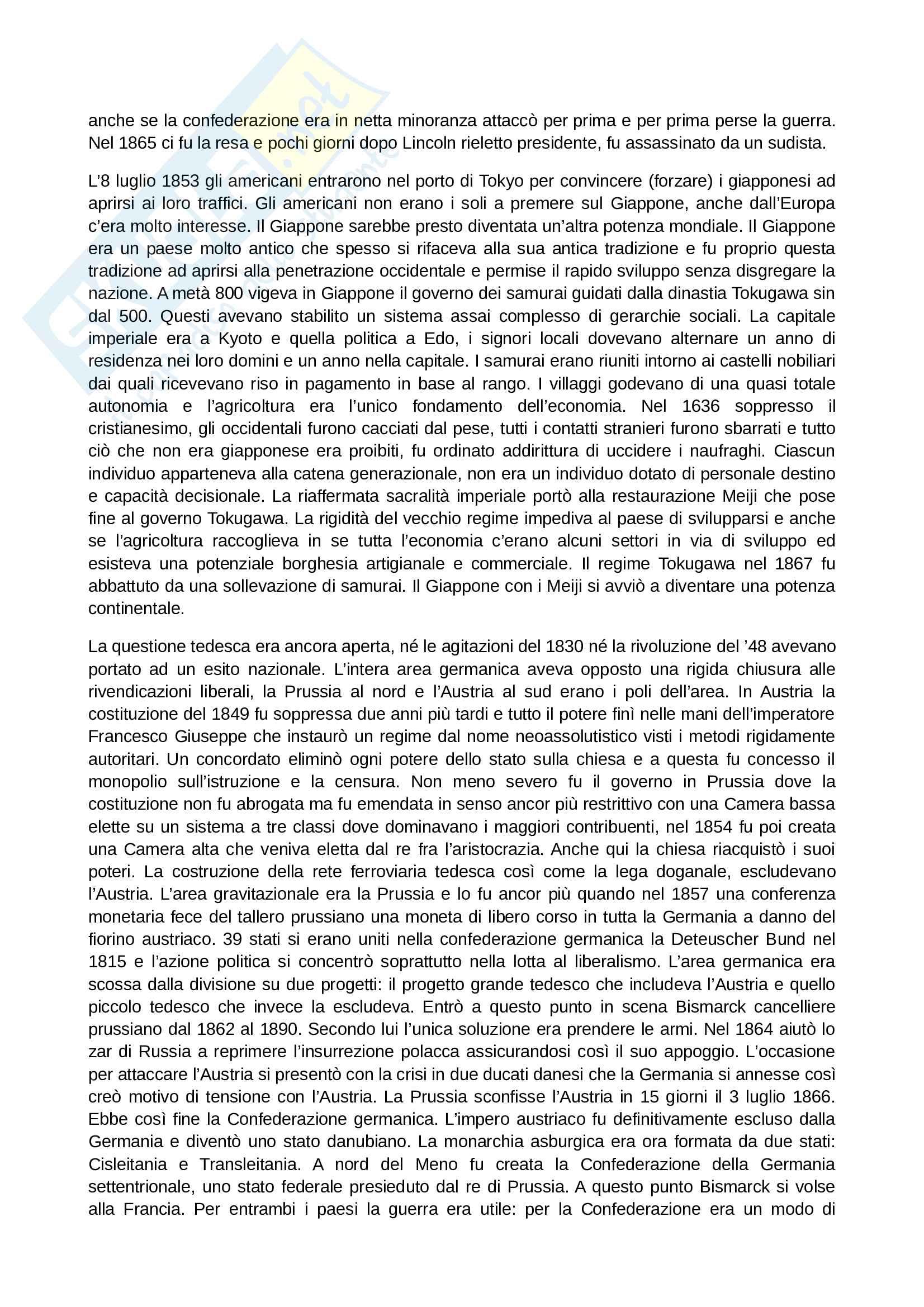 Riassunto esame Storia Contemporanea, prof. Papadia, libro consigliato Ottocento: Lezioni di Storia Contemporanea, Romanelli Pag. 16