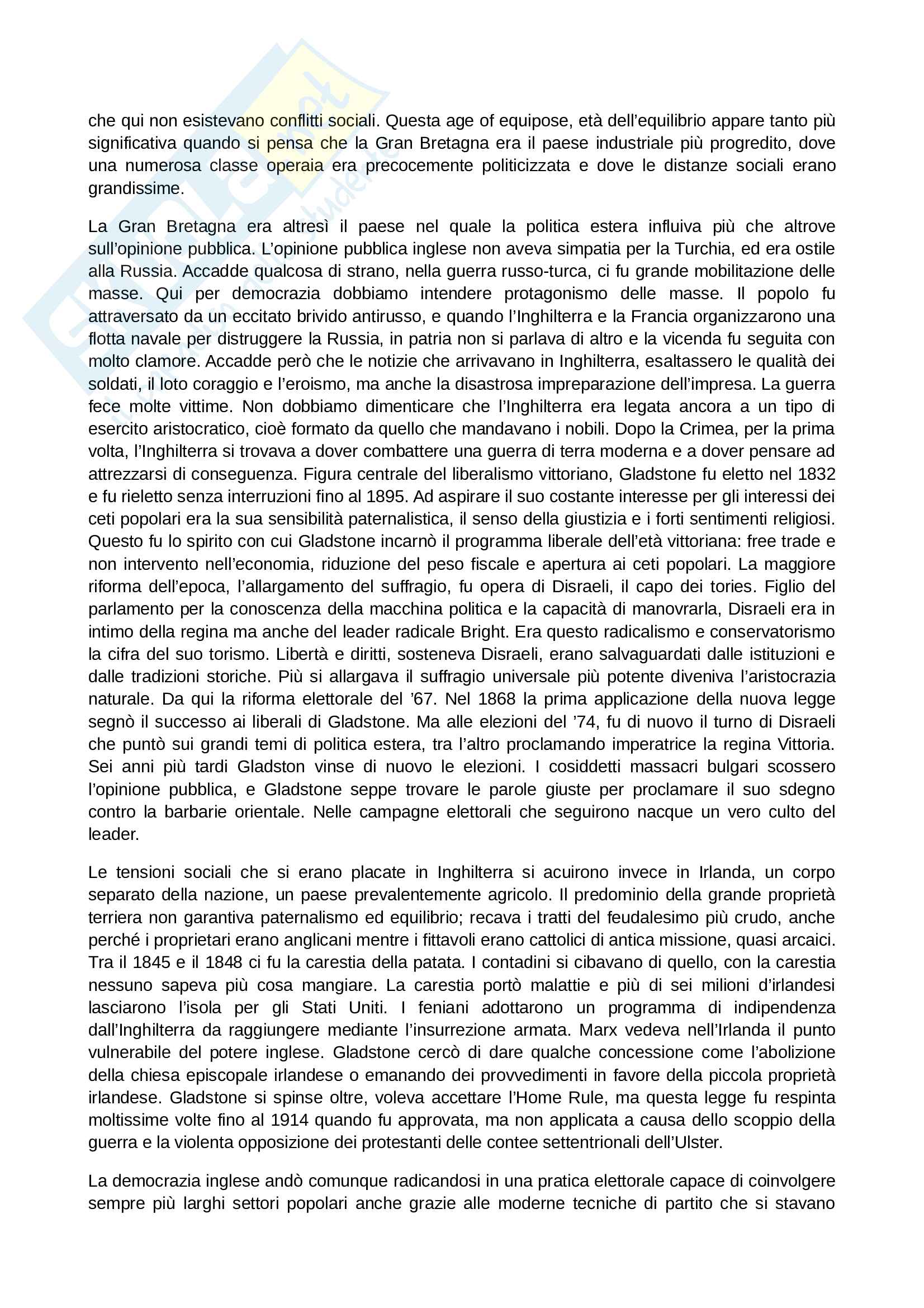 Riassunto esame Storia Contemporanea, prof. Papadia, libro consigliato Ottocento: Lezioni di Storia Contemporanea, Romanelli Pag. 31