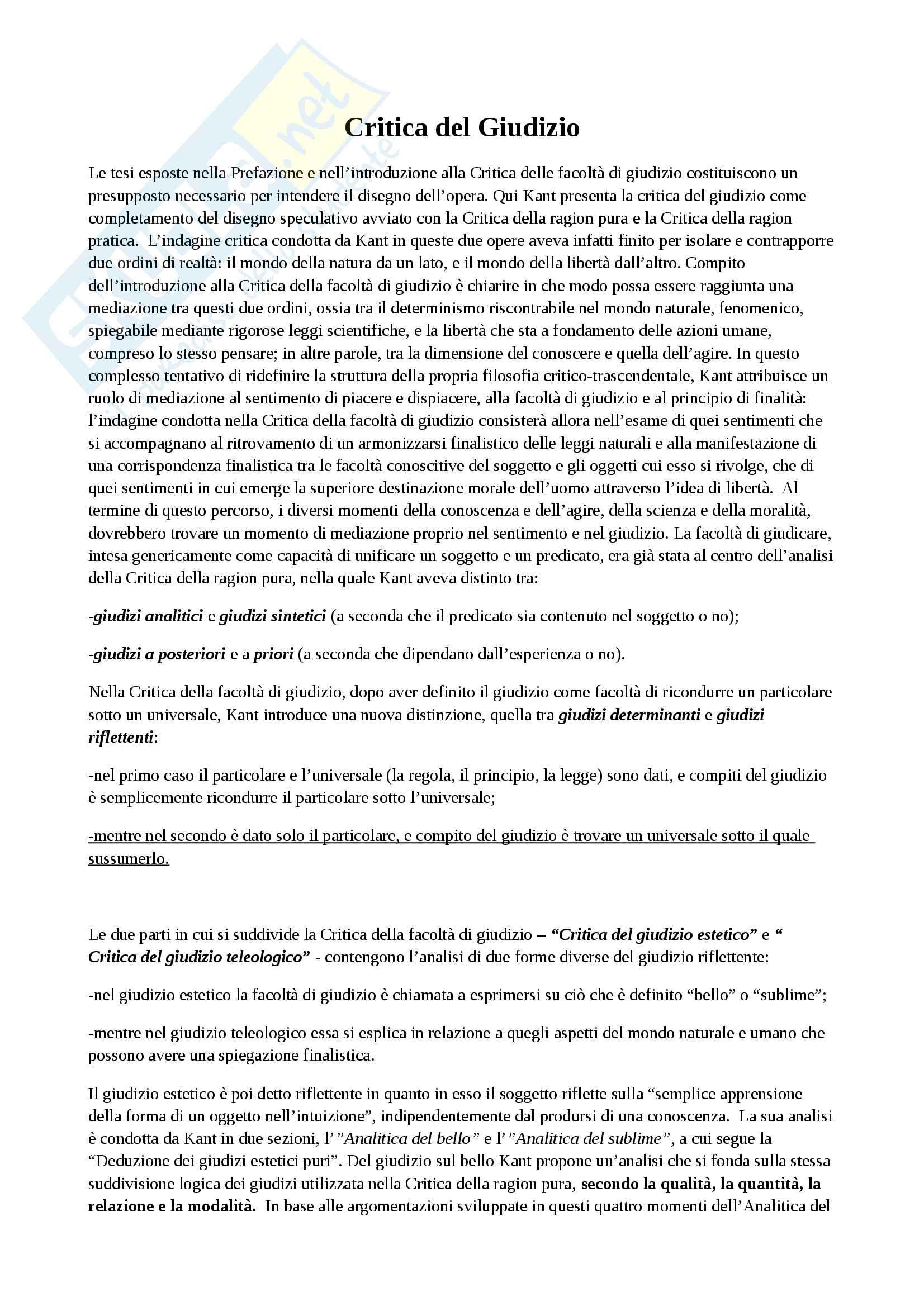 Riassunto esame filosofia estetica, prof. Velotti, libro consigliato La Critica del Giudizio