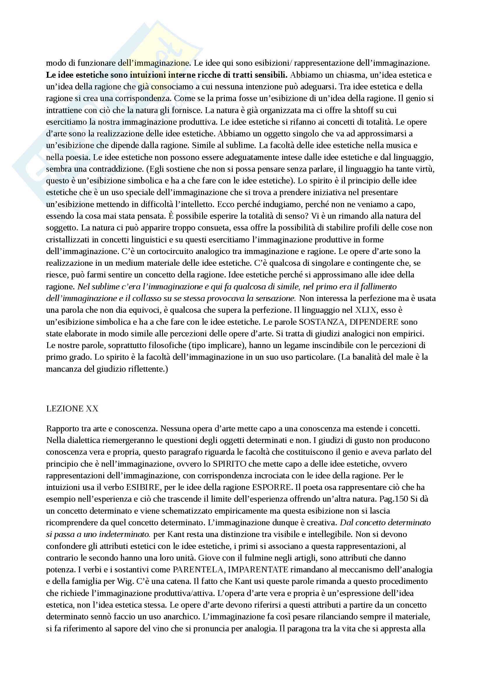 Riassunto esame filosofia estetica, prof. Velotti, libro consigliato La Critica del Giudizio Pag. 31