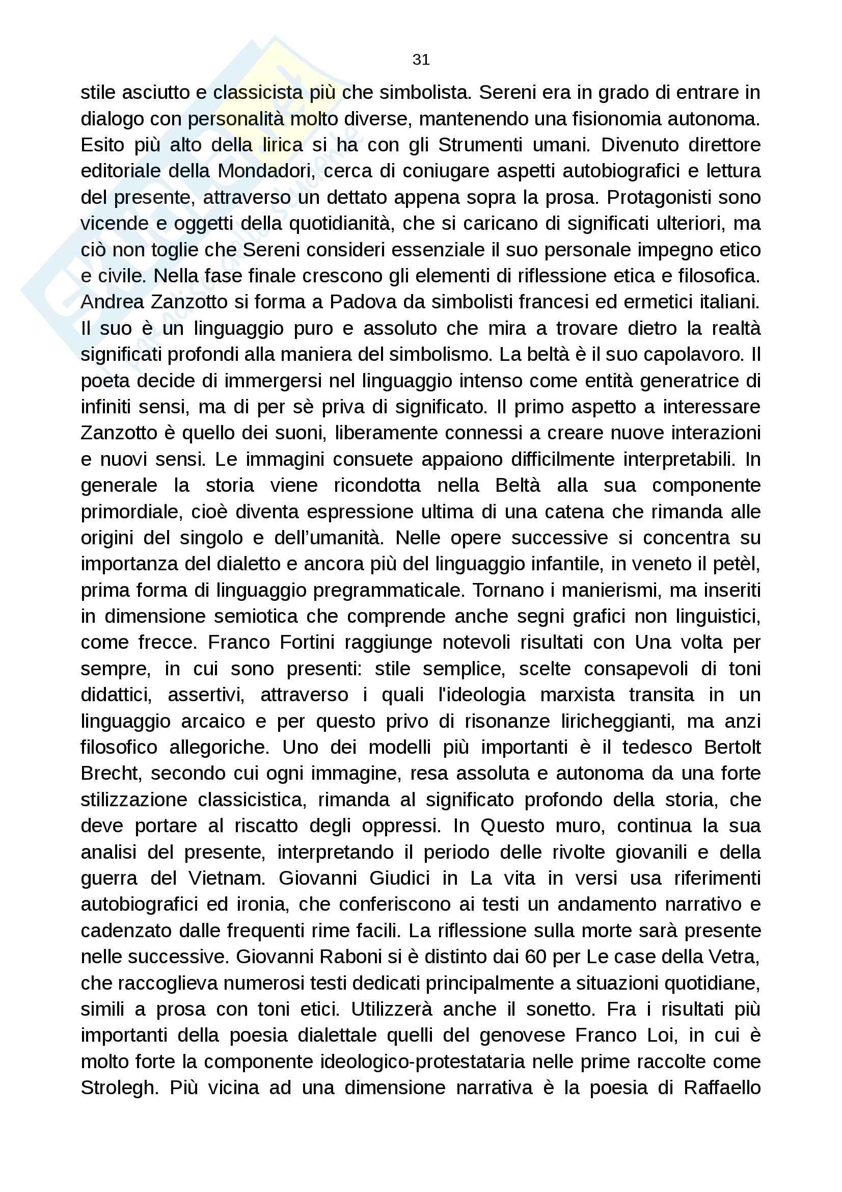 Riassunto esame letteratura italiana contemporanea, prof. Dario Tomasello, libro consigliato Il Novecento, Alberto Casadei Pag. 31