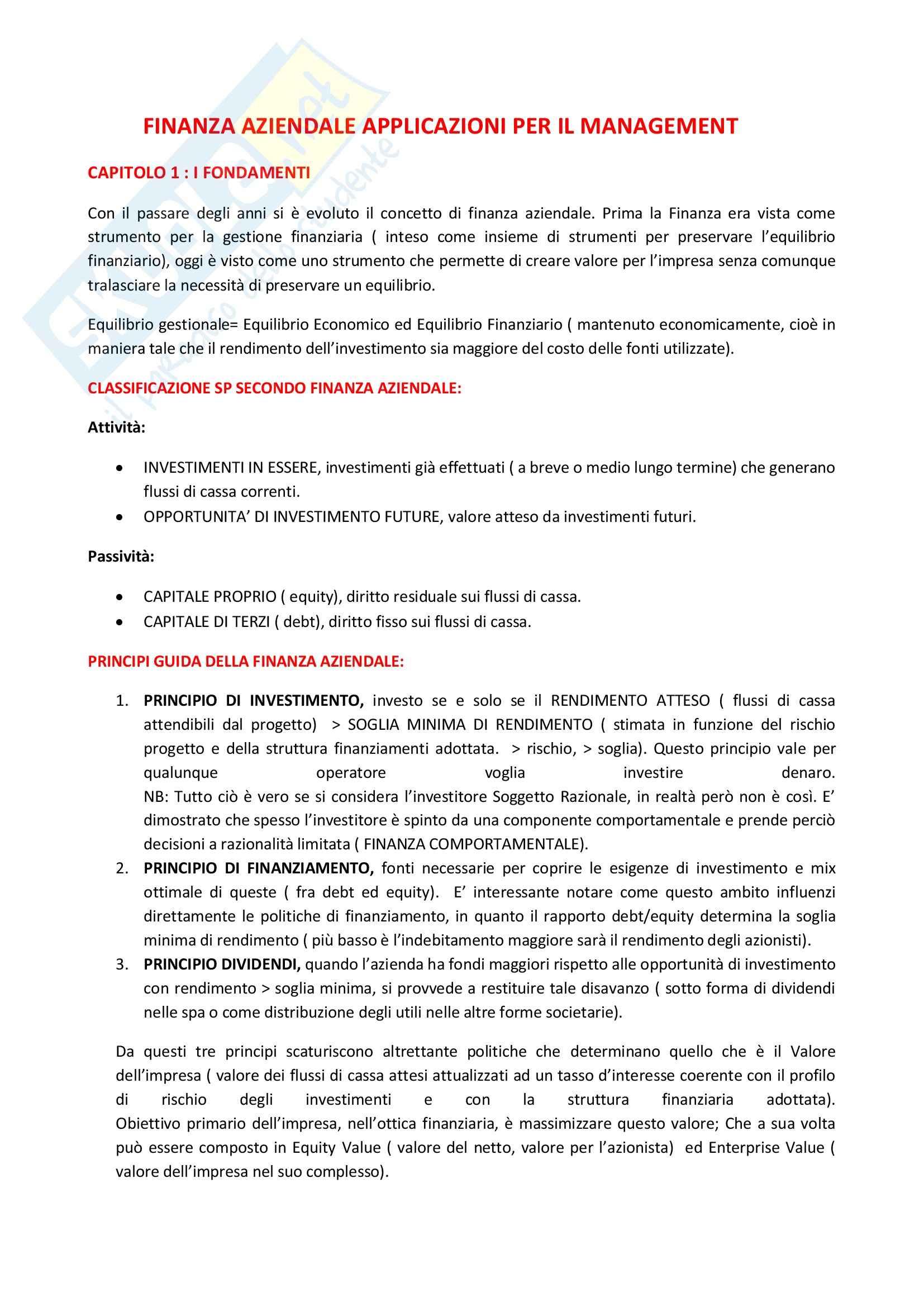 Riassunto esame Finanza Aziendale, prof. Roggi, libro consigliato Finanza Aziendale