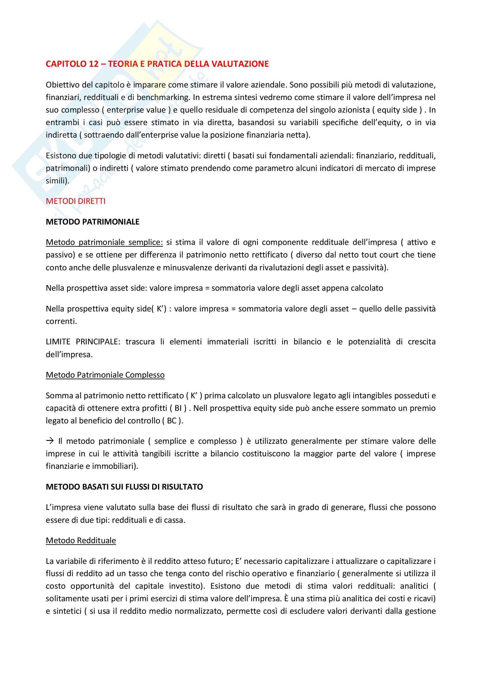 Riassunto esame Finanza Aziendale, prof. Roggi, libro consigliato Finanza Aziendale Pag. 61