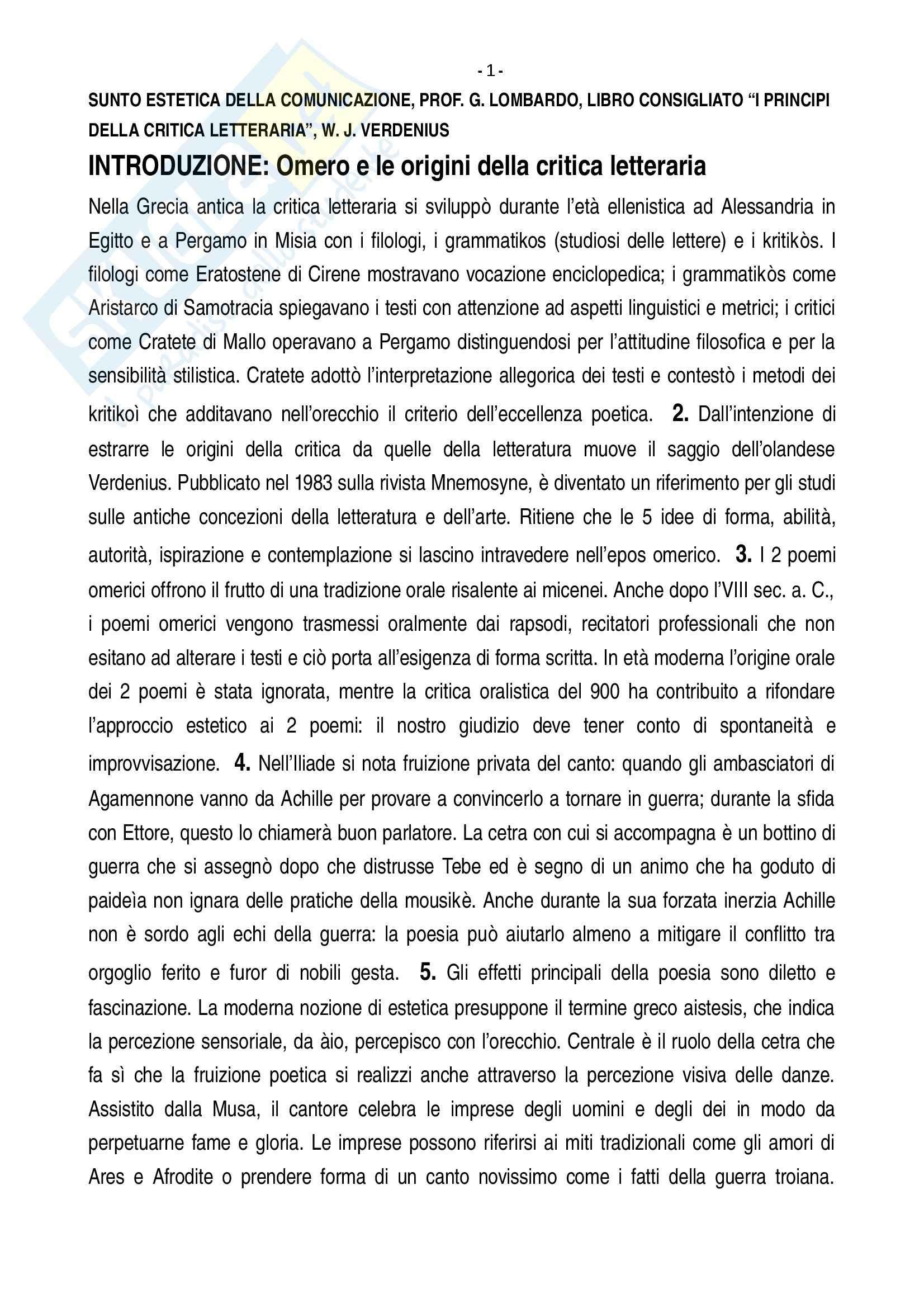 Riassunto esame estetica comunicazione, prof Lombardo, libro consigliato Principi della critica letteraria, Verdenius