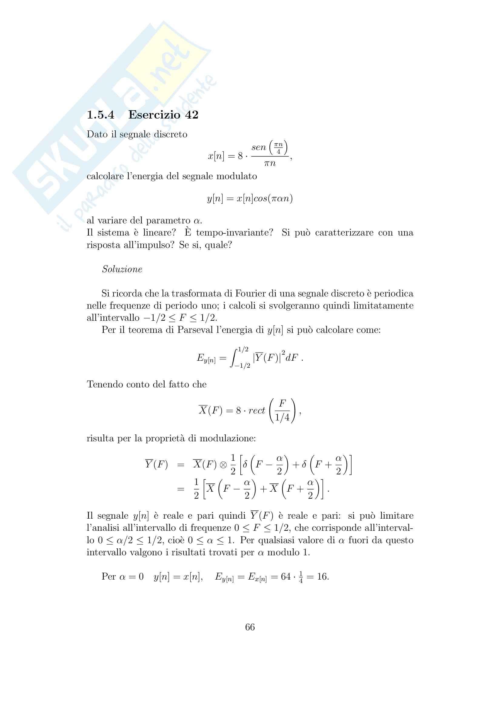 Teoria dei segnali - Esercitazione da fourier alla probabilità Pag. 71