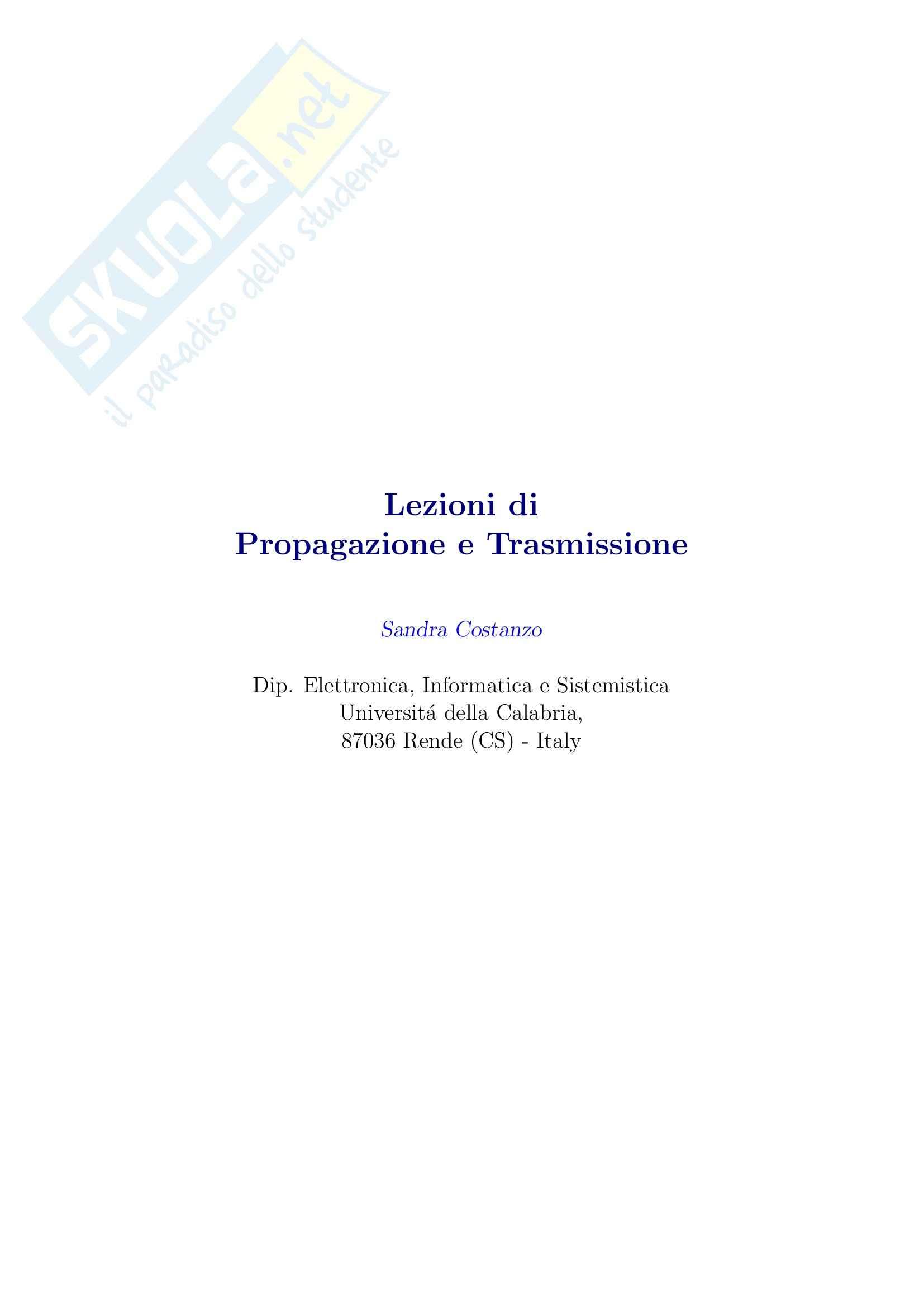 Propagazione e trasmissione - Appunti