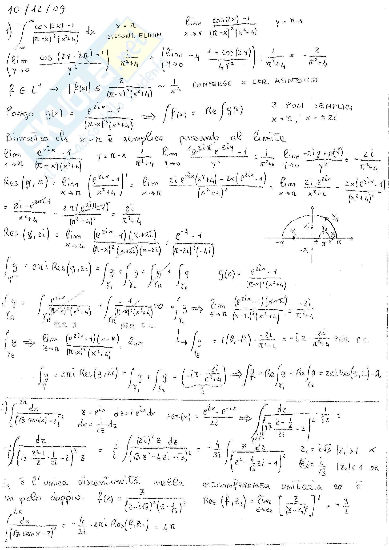 Analisi Complessa - Esercizi