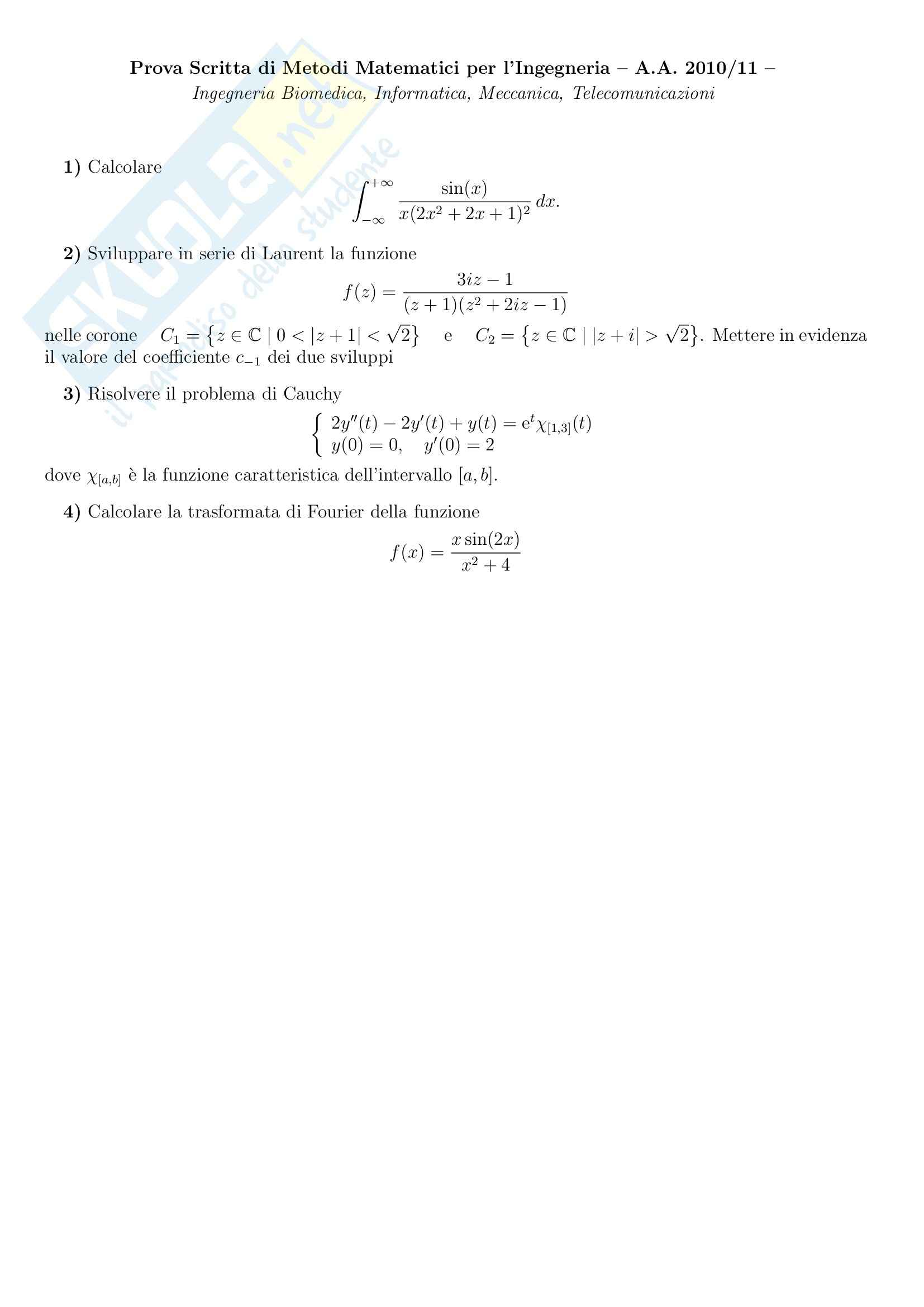 Analisi Complessa - Esercizi Pag. 6