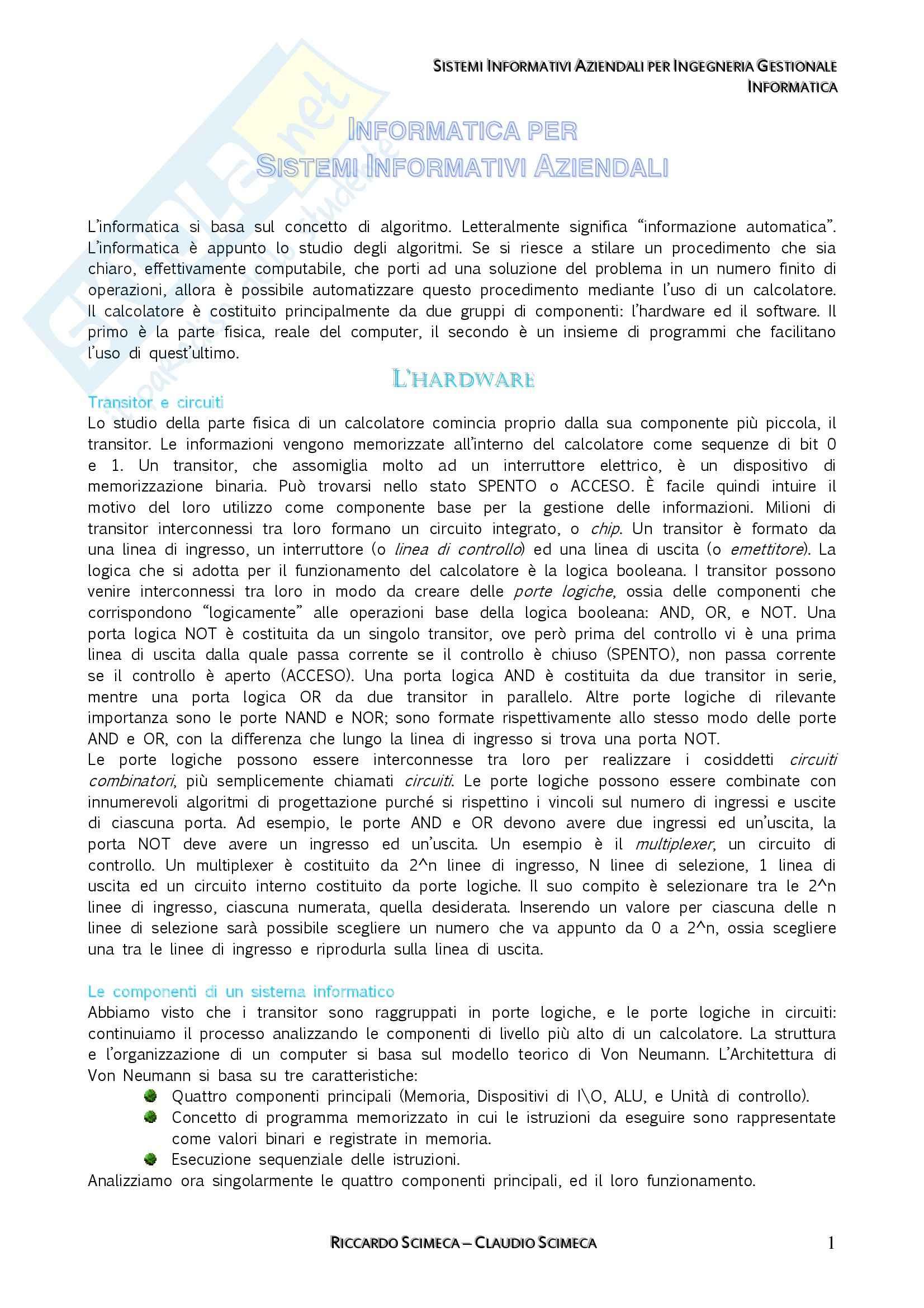 Sistemi Informativi Aziendali - Appunti