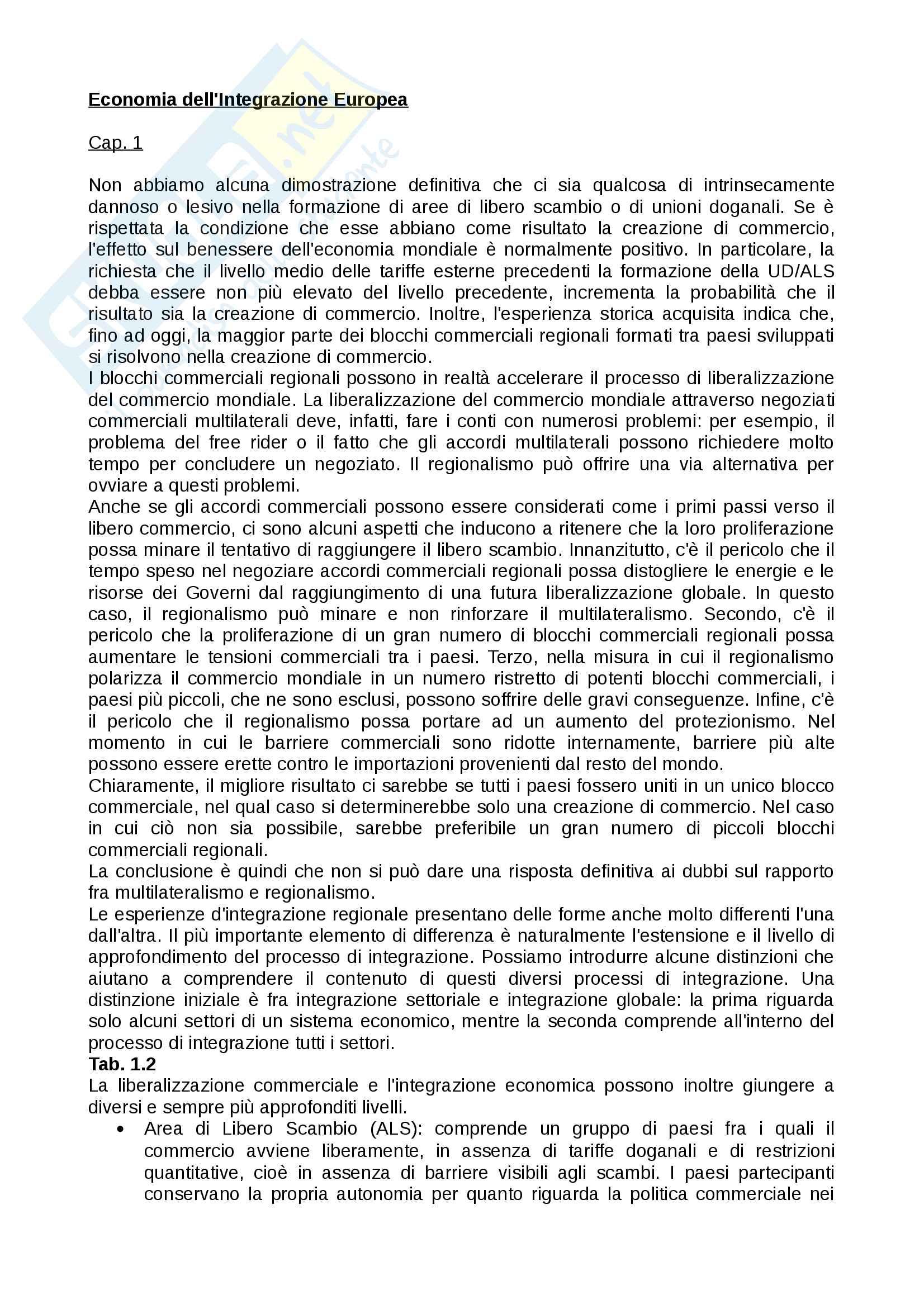 Appunti economia dell'integrazione europea - Orcalli - Unipd