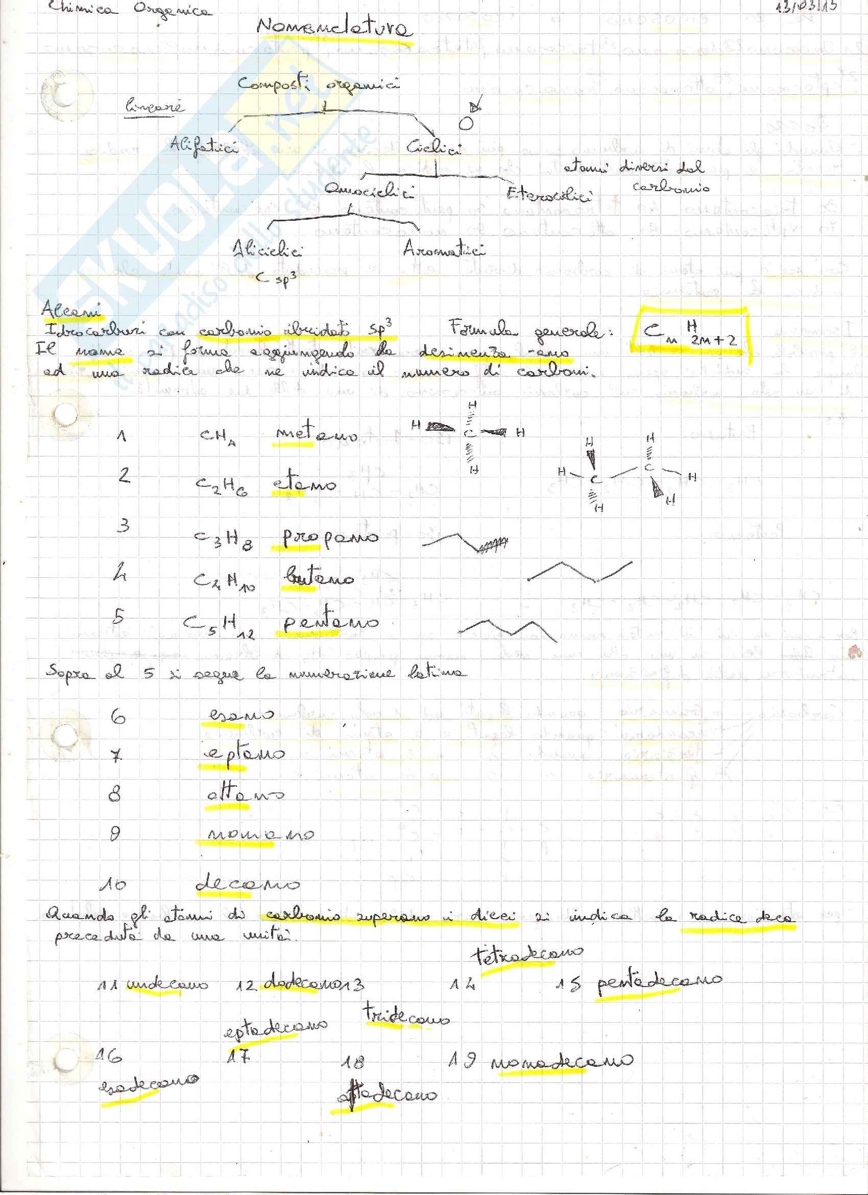 Riassunto esame Chimica Organica: nomenclatura, stereochimica, reazioni, prof. Floris