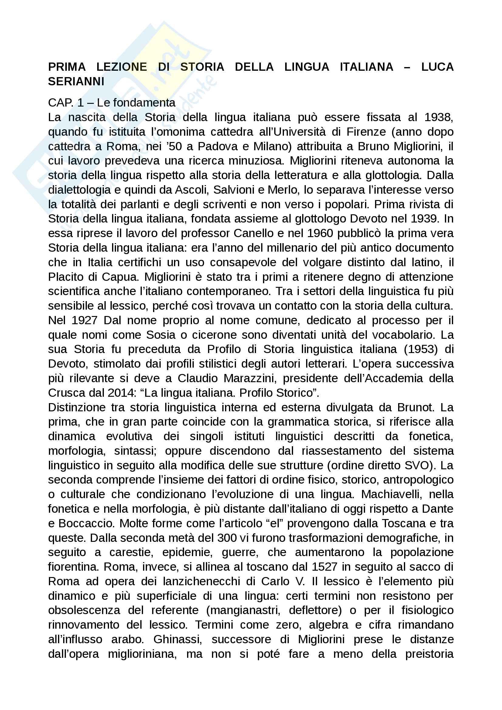 Riassunto esame metodologia della ricerca linguistica, prof. Scavuzzo, libro consigliato Prima lezione di storia della lingua italiana, Serianni Pag. 1