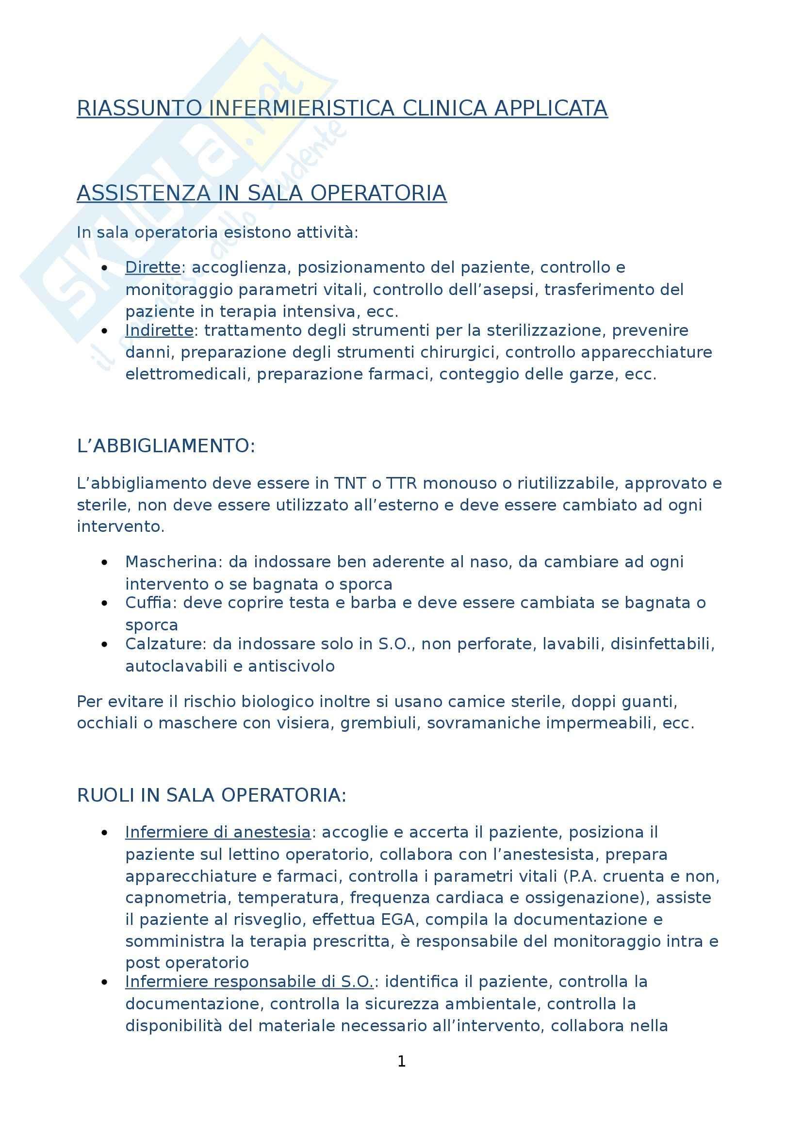 Infermieristica clinica 1 - Appunti