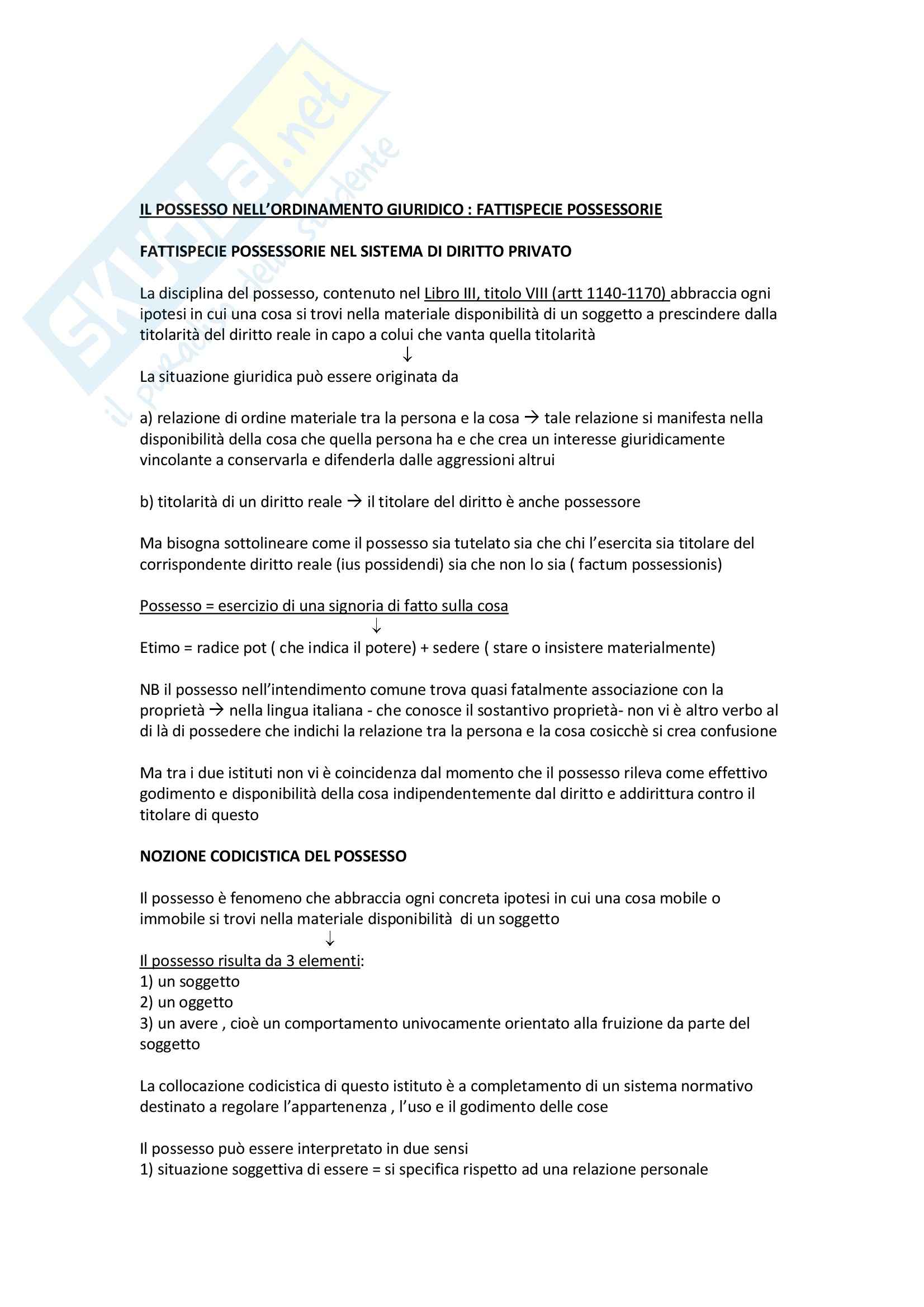 Riassunto esame Diritto civile 2, prof. Sillani, libro consigliato Il possesso, Troisi, Cicero ultima edizione