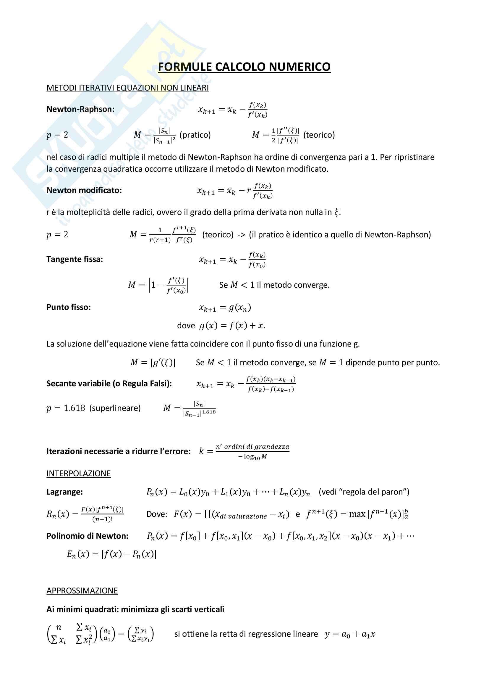 Formule Calcolo Numerico