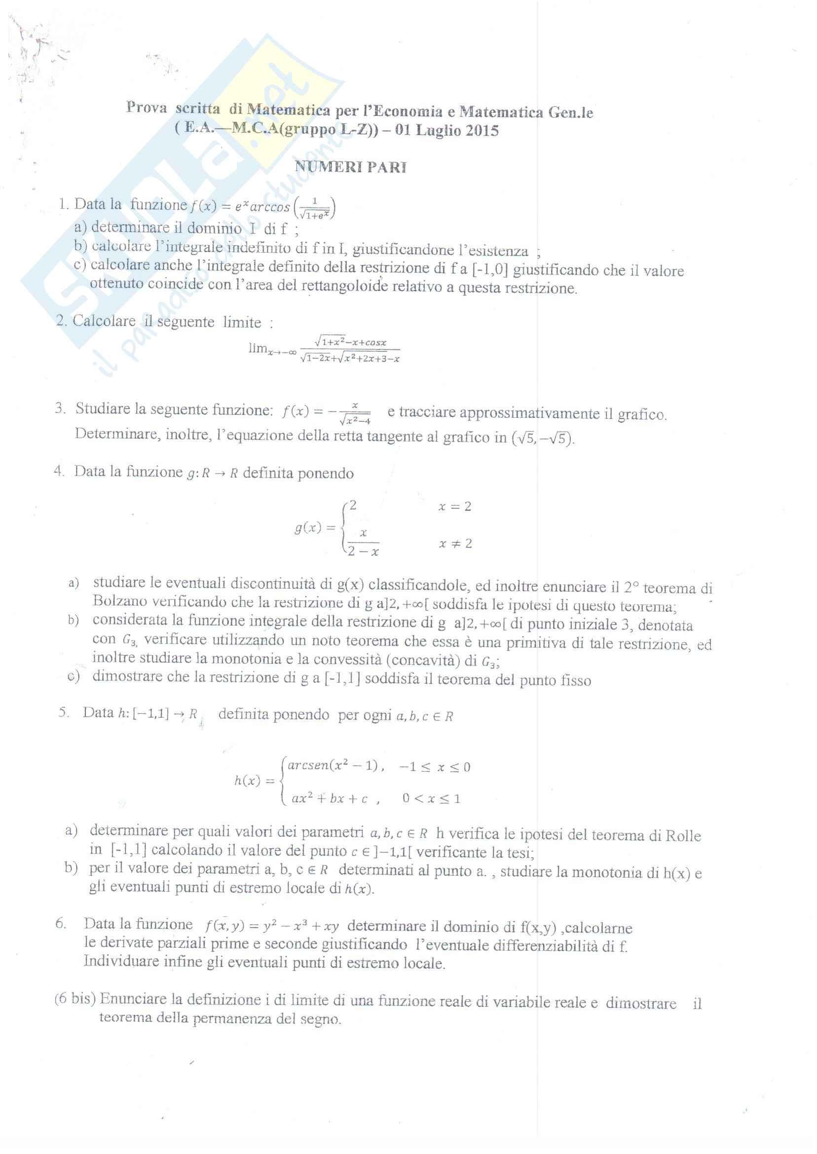 Esercitazioni Matematica per l'economia